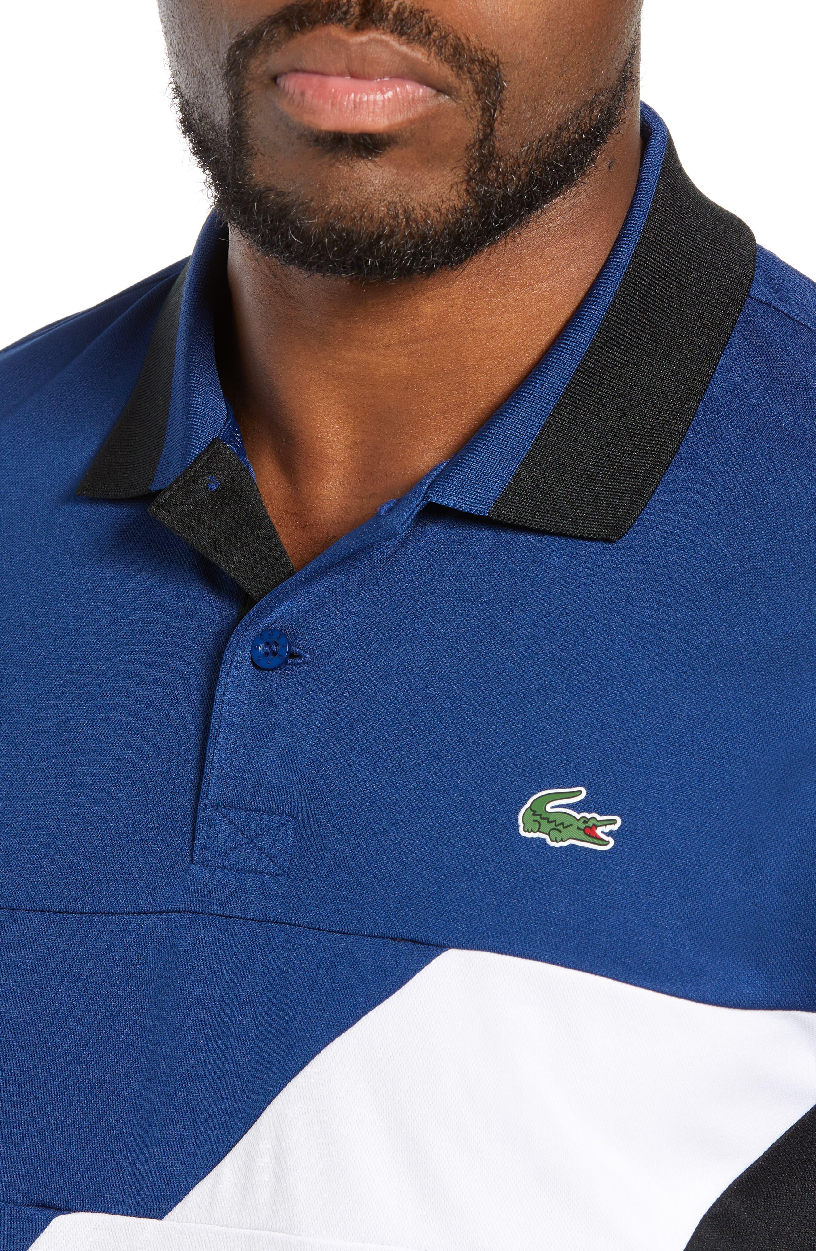 Sport Regular Fit Colorblock Tech Piqué Polo,                             Alternate thumbnail 4, color,                             FZ3 INKWELL/ BLACK-WHITE