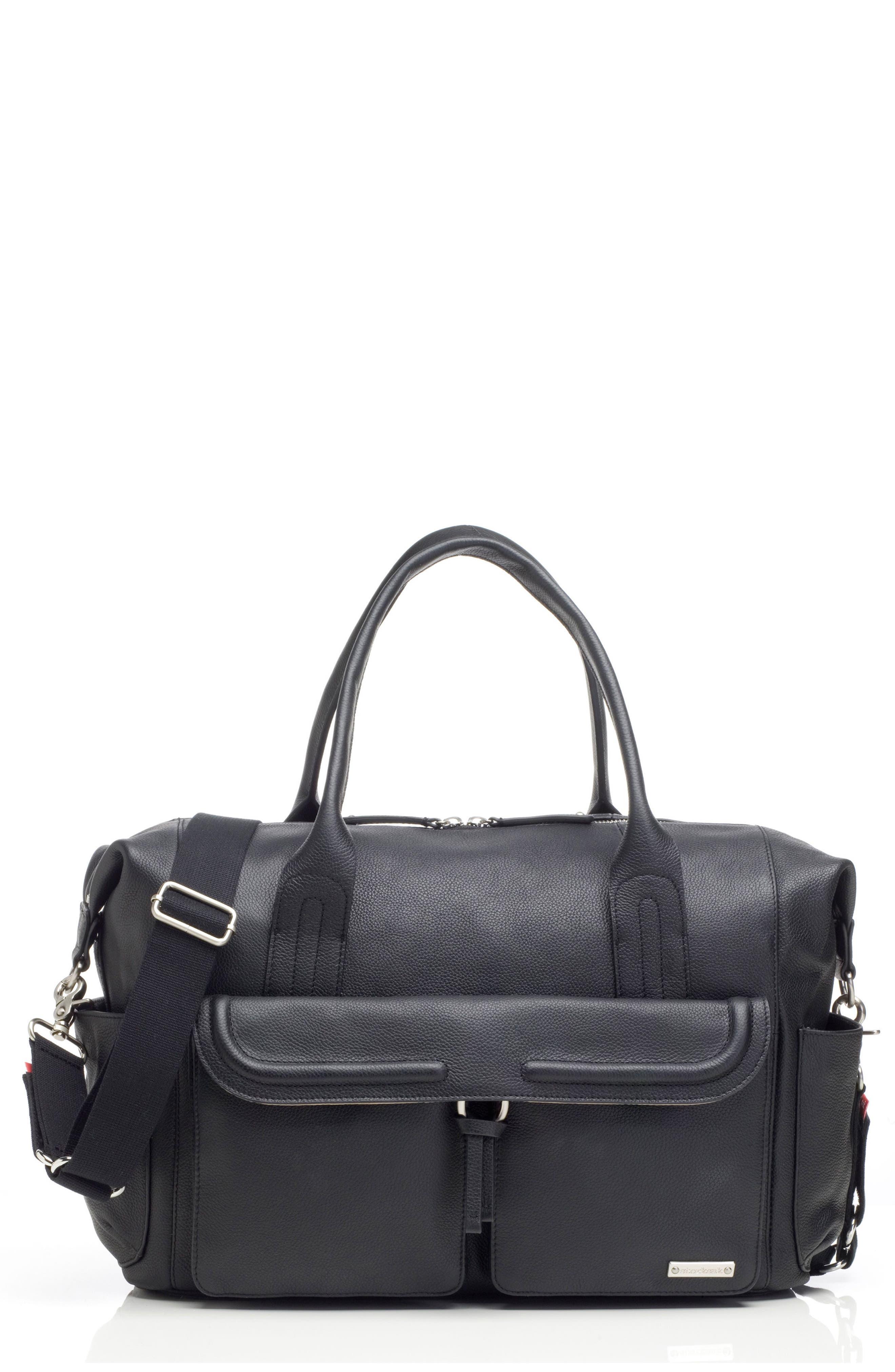 Storsak Leather Diaper Bag,                         Main,                         color, BLACK