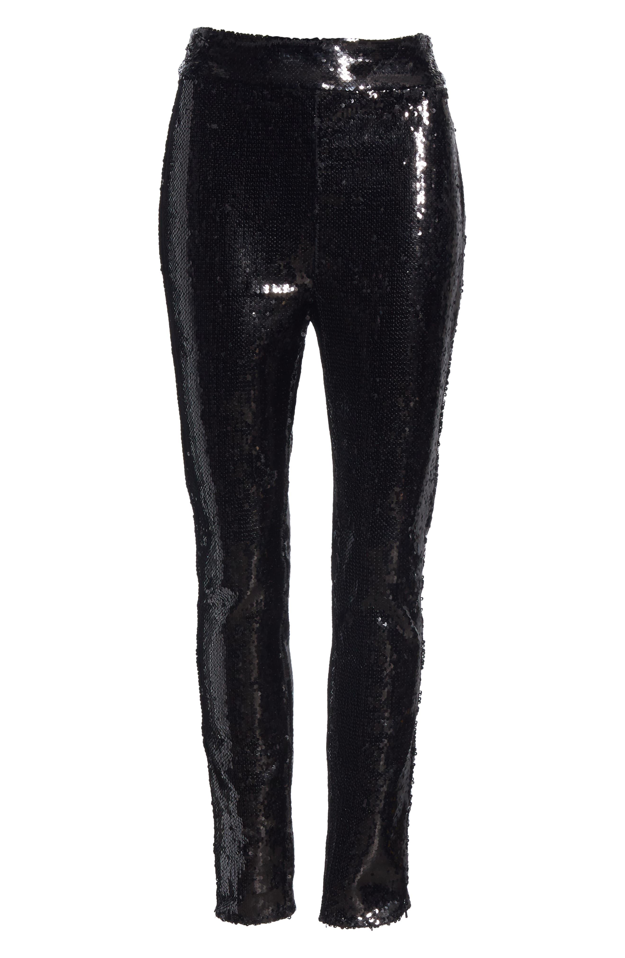 Sequin Skinny Pants,                             Alternate thumbnail 6, color,                             NOIR