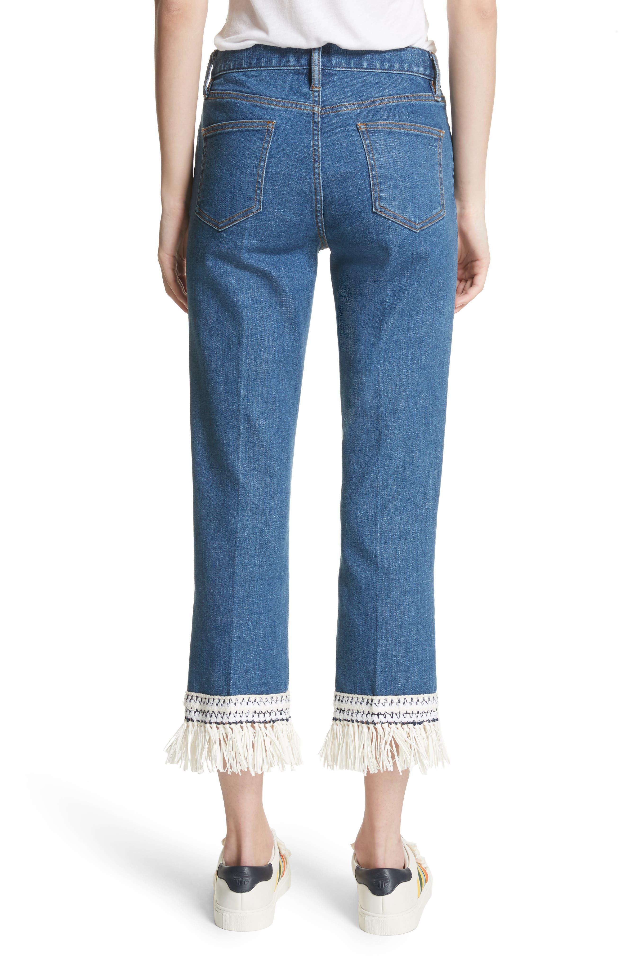 Connor Fringe Trim Crop Jeans,                             Alternate thumbnail 2, color,
