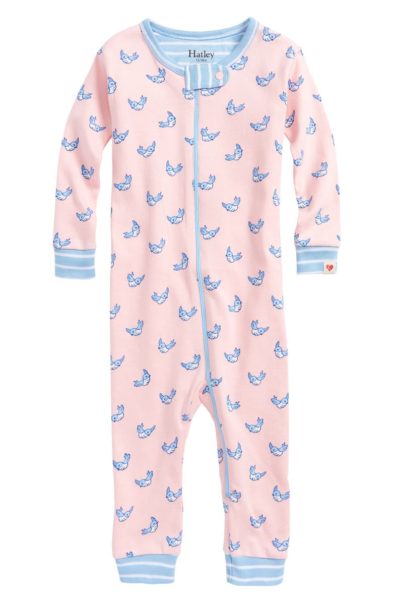 7160358c1 Hatley Fluttering Birds Organic Cotton Fitted One-Piece Pajamas ...