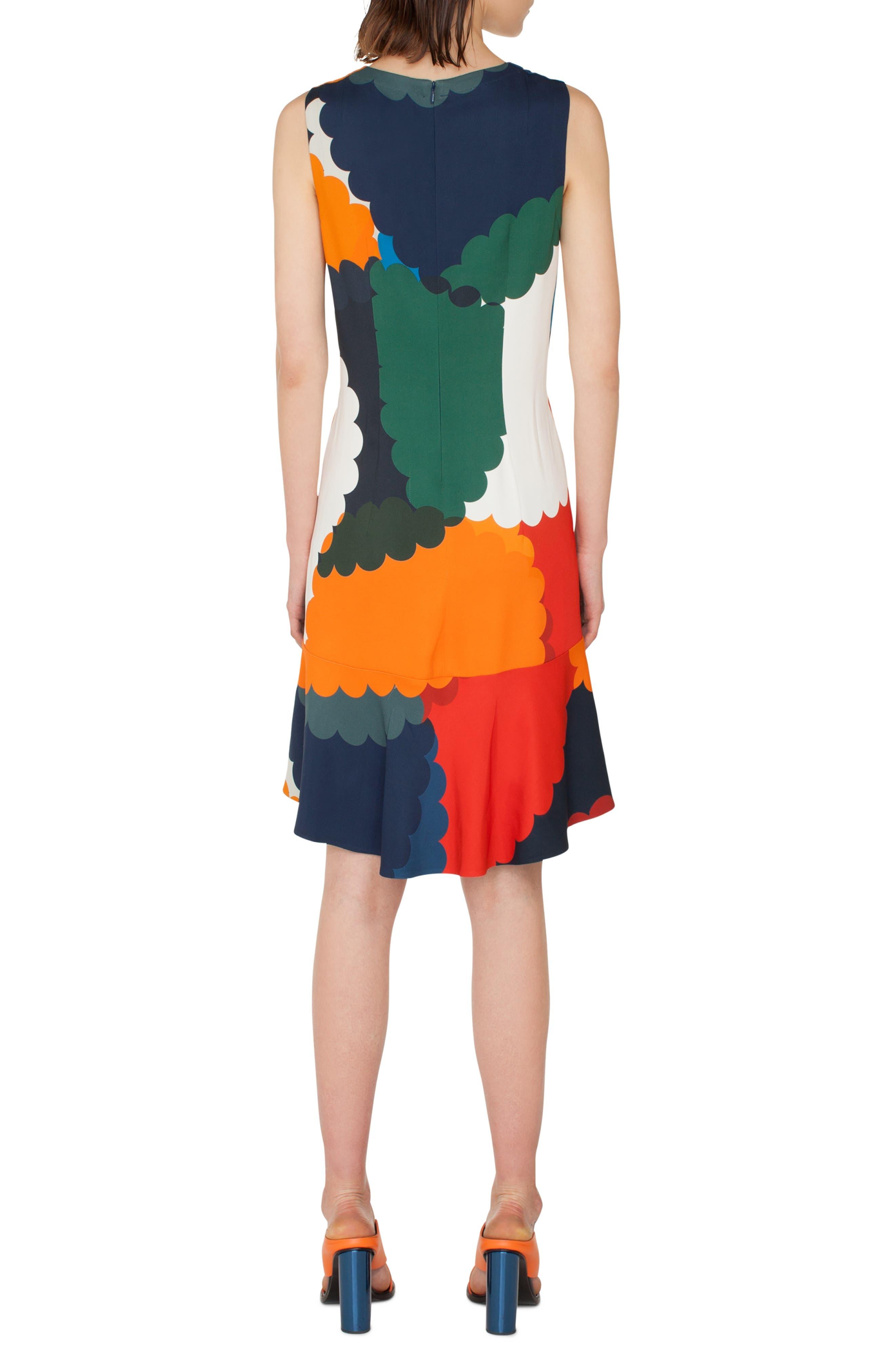 Nuvola Print Shift Dress,                             Alternate thumbnail 2, color,                             BLU MARE-MULTICOLOR