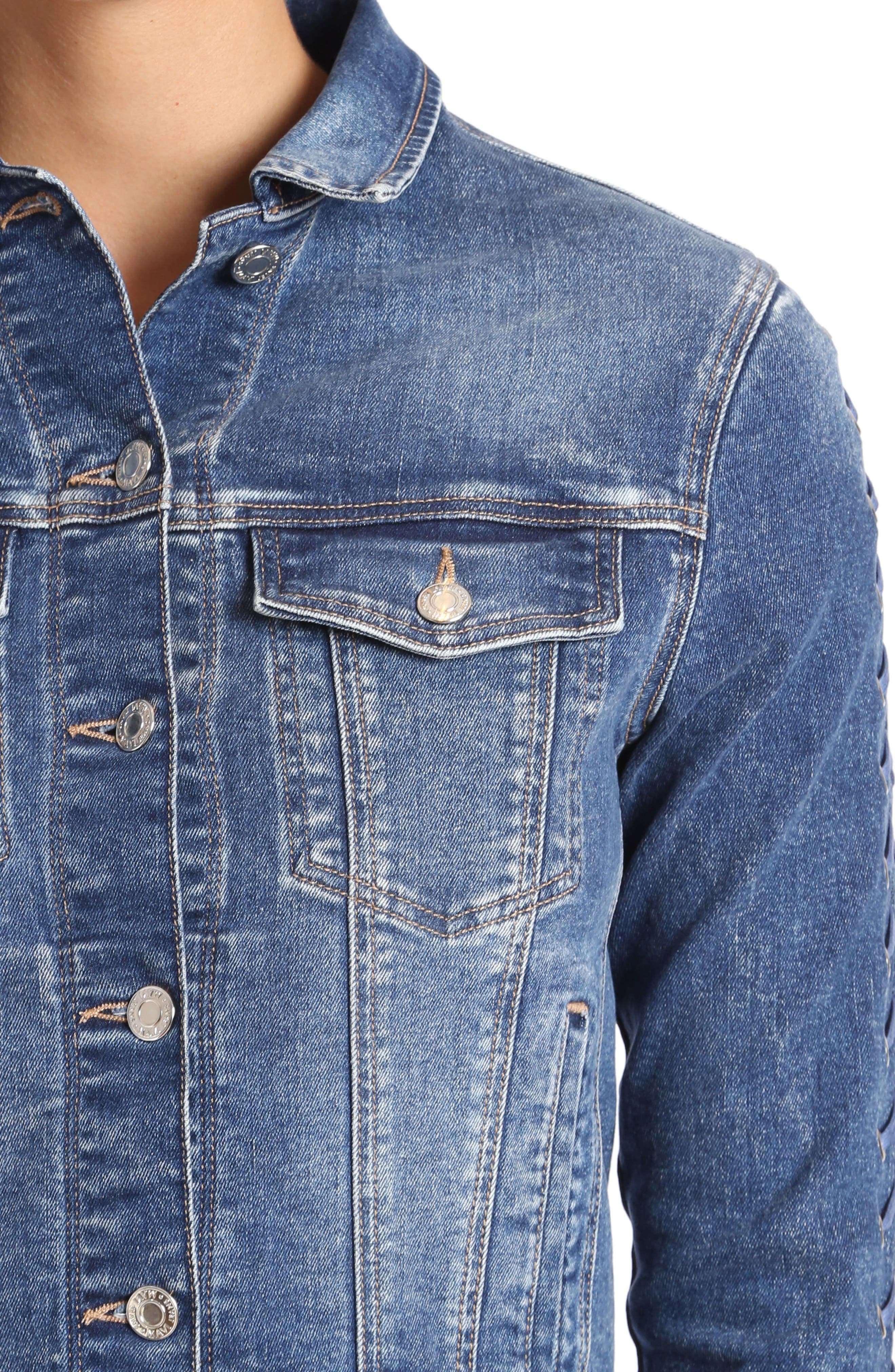 Katy Lace-Up Sleeve Denim Jacket,                             Alternate thumbnail 4, color,                             420
