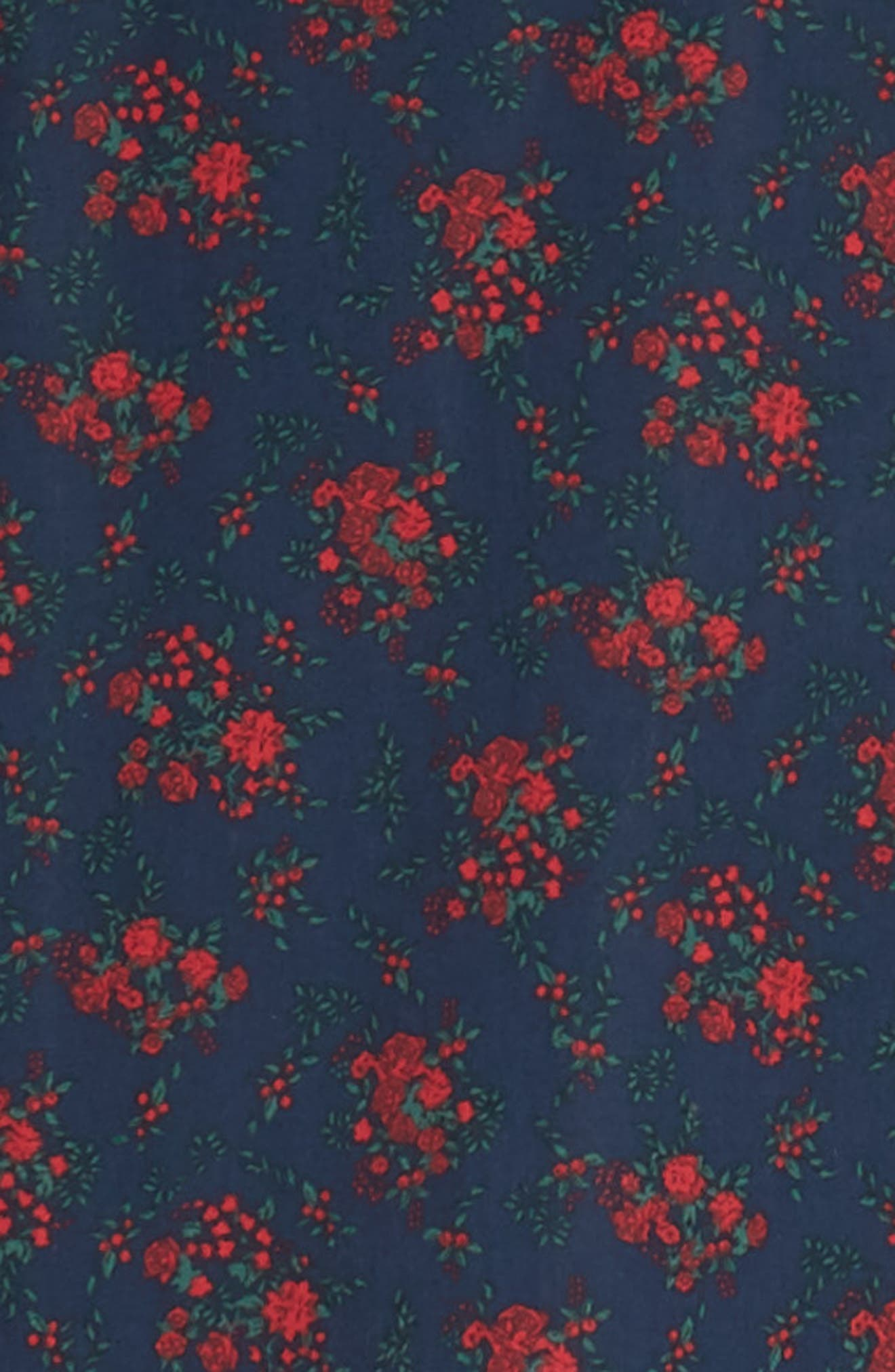 Slim Fit Print No-Iron Sport Shirt,                             Alternate thumbnail 6, color,                             NAVY NIGHT RED FLORAL