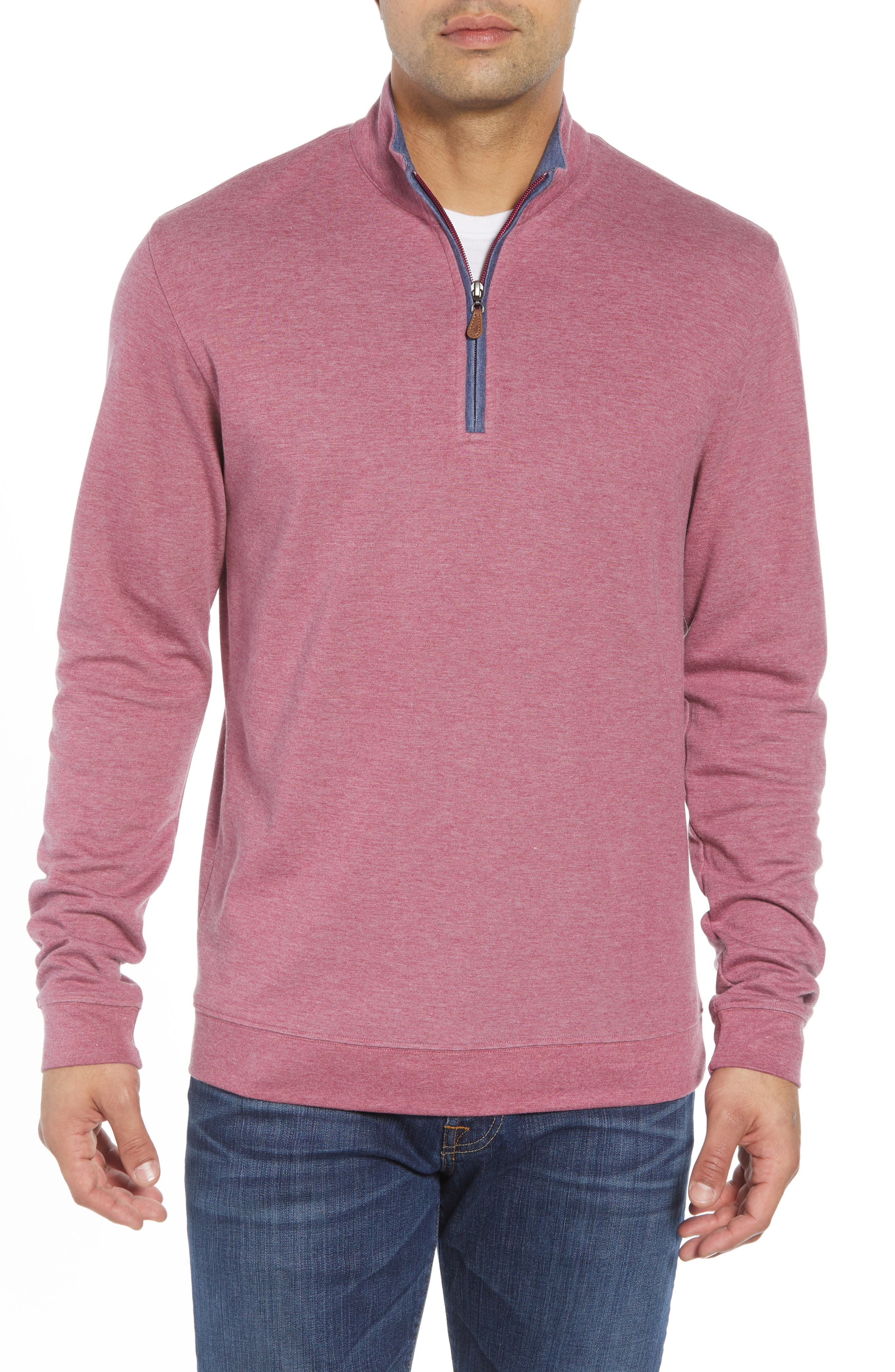 JOHNNIE-O Sully Quarter Zip Pullover in Scarlet