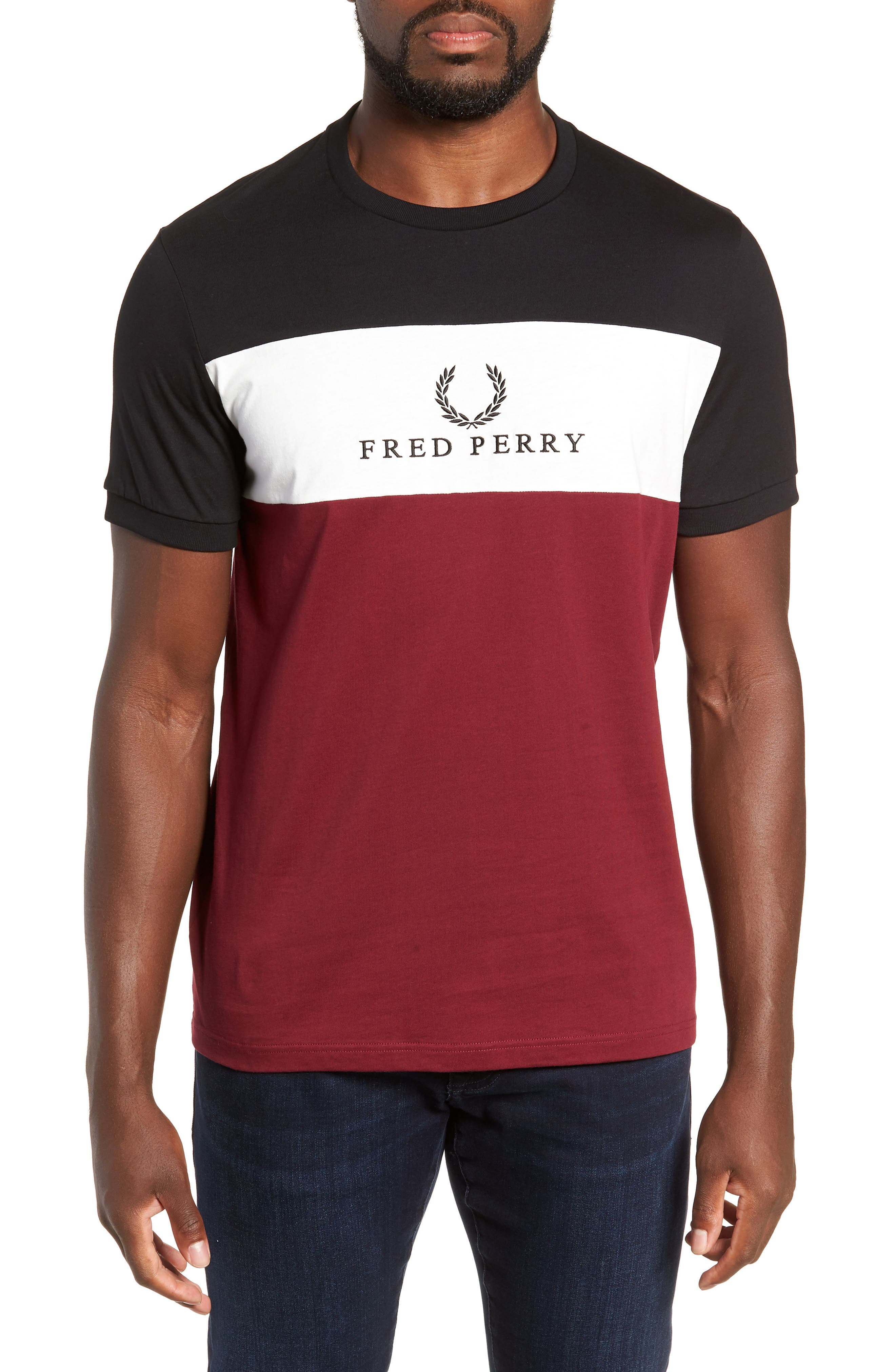 Embroidered Colorblock T-Shirt,                         Main,                         color, TAWNY PORT