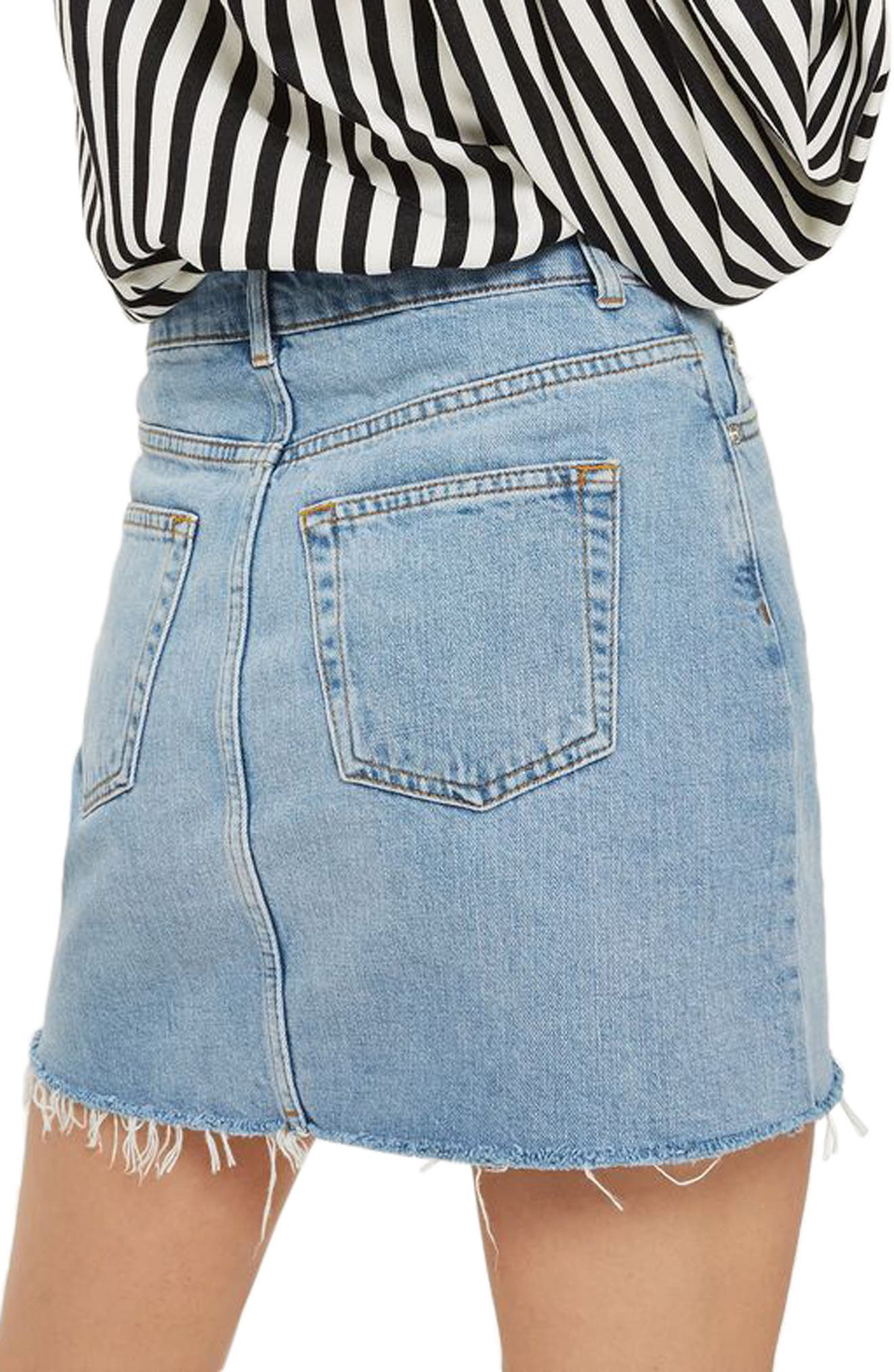 Frayed Hem Denim Miniskirt,                             Alternate thumbnail 6, color,