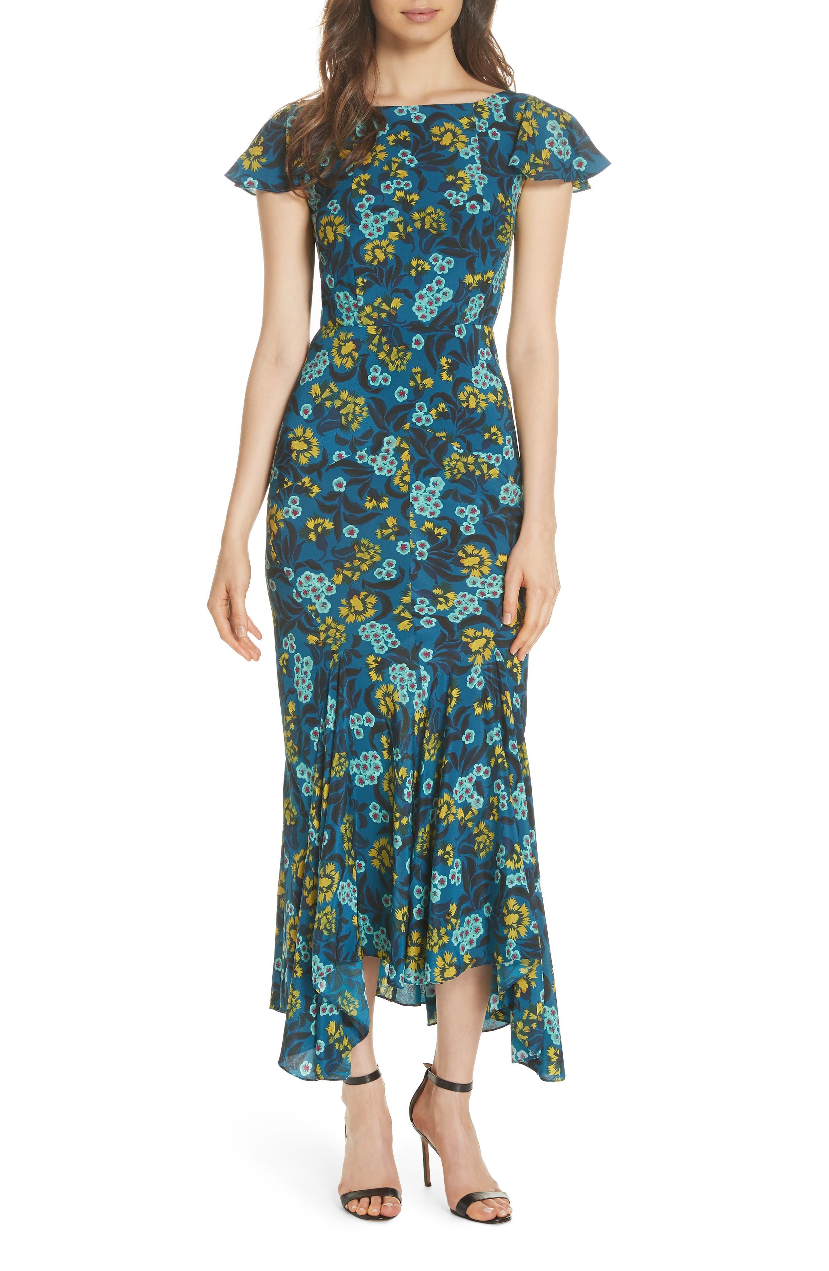 Daphne Floral Print Dress,                         Main,                         color, TEAL AZALEA