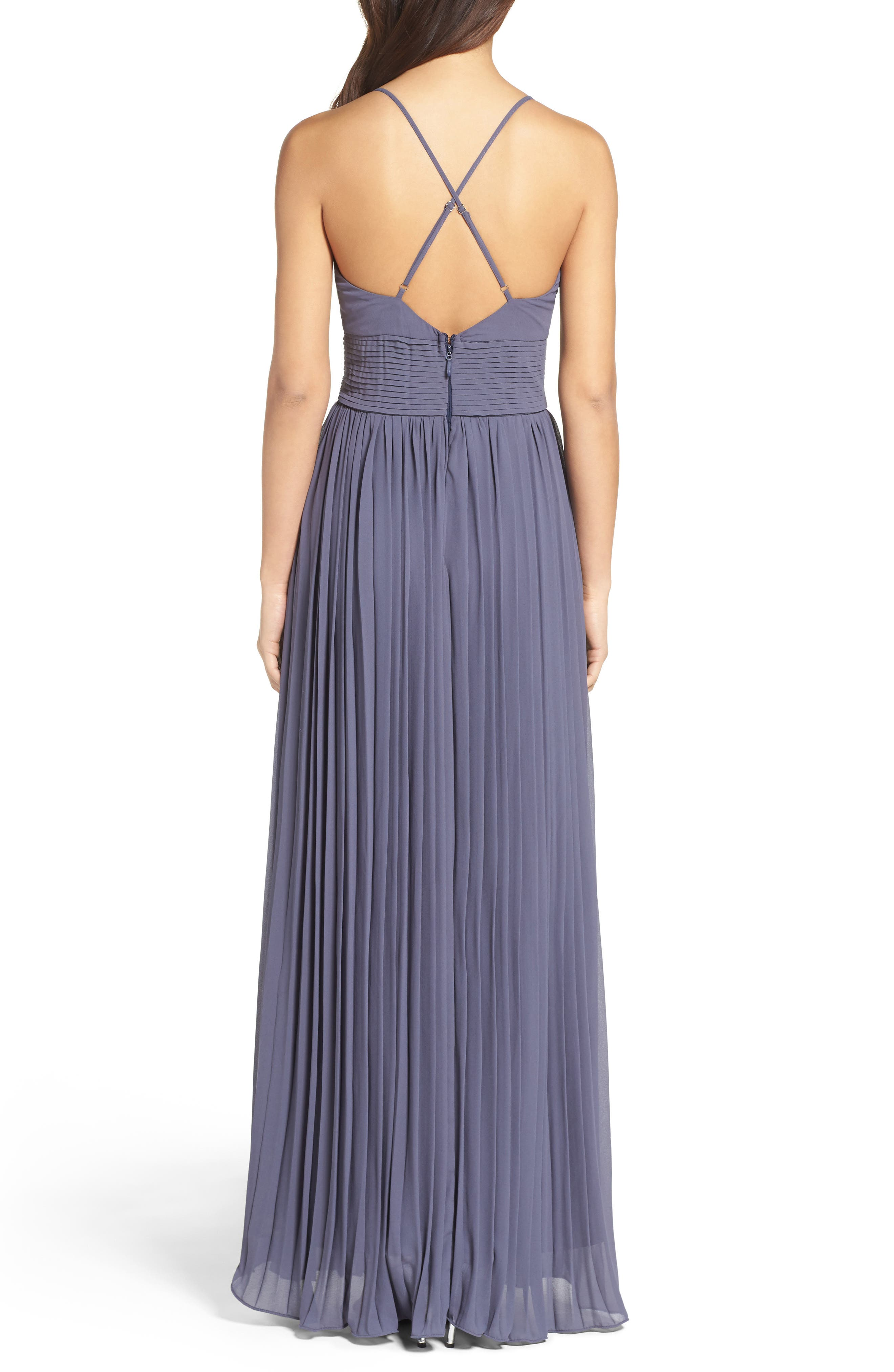 Plunging V-Neck Pleat Georgette Gown,                             Alternate thumbnail 15, color,