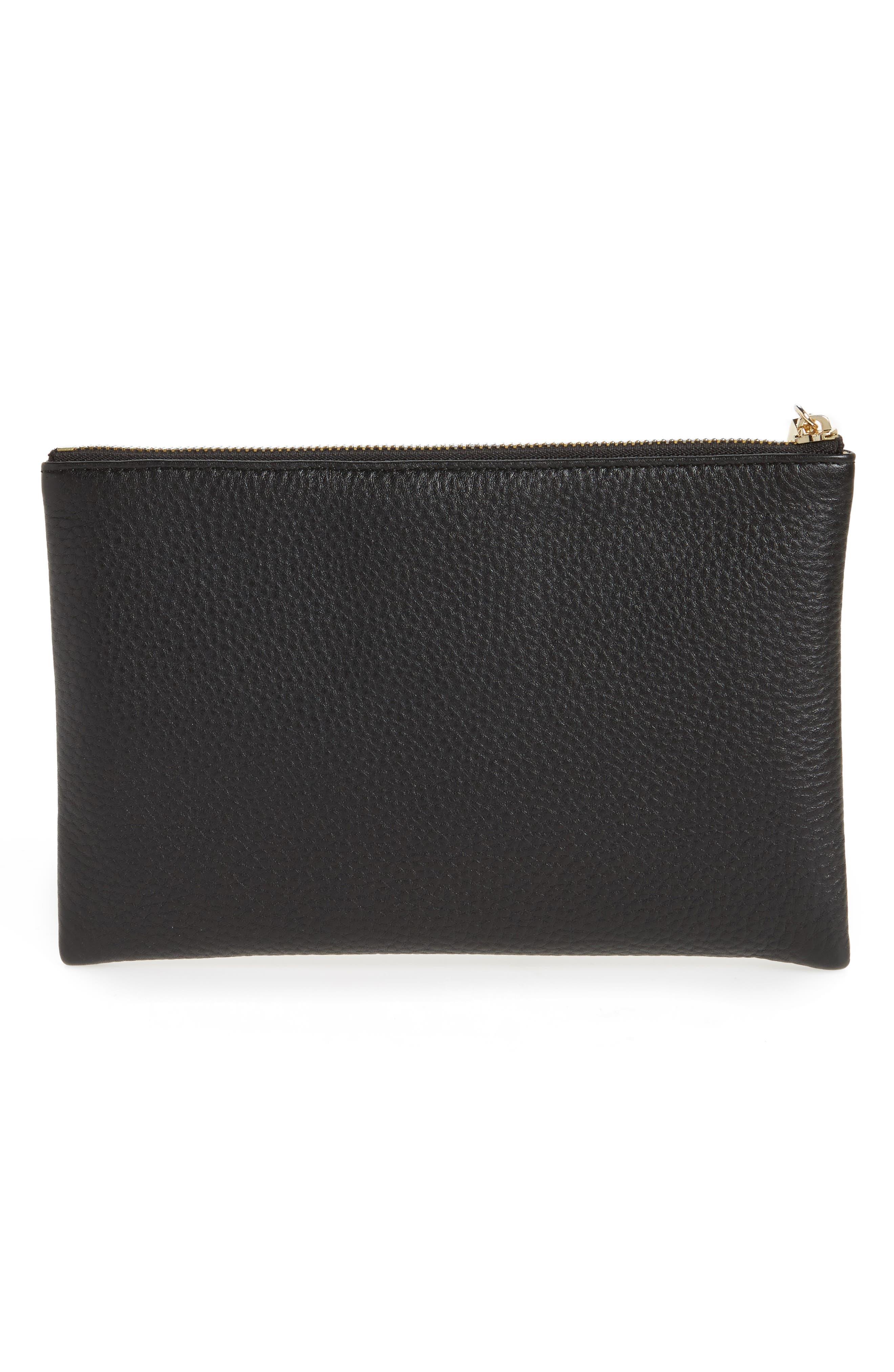 Céline Dion Adagio Leather Zip Pouch,                             Alternate thumbnail 4, color,                             001