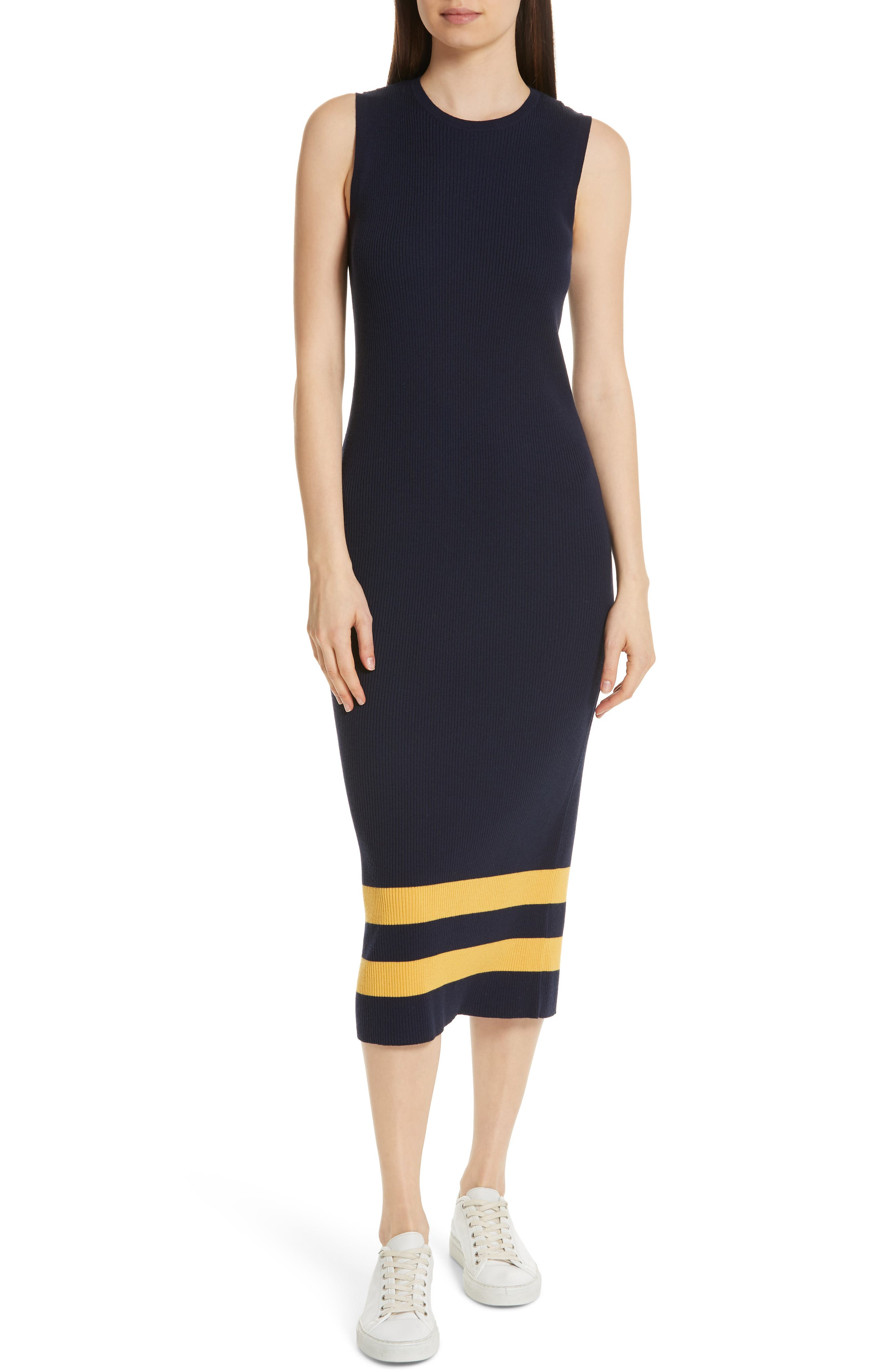 Midi Sweater Dress,                             Main thumbnail 1, color,                             NAVY/ GOLD