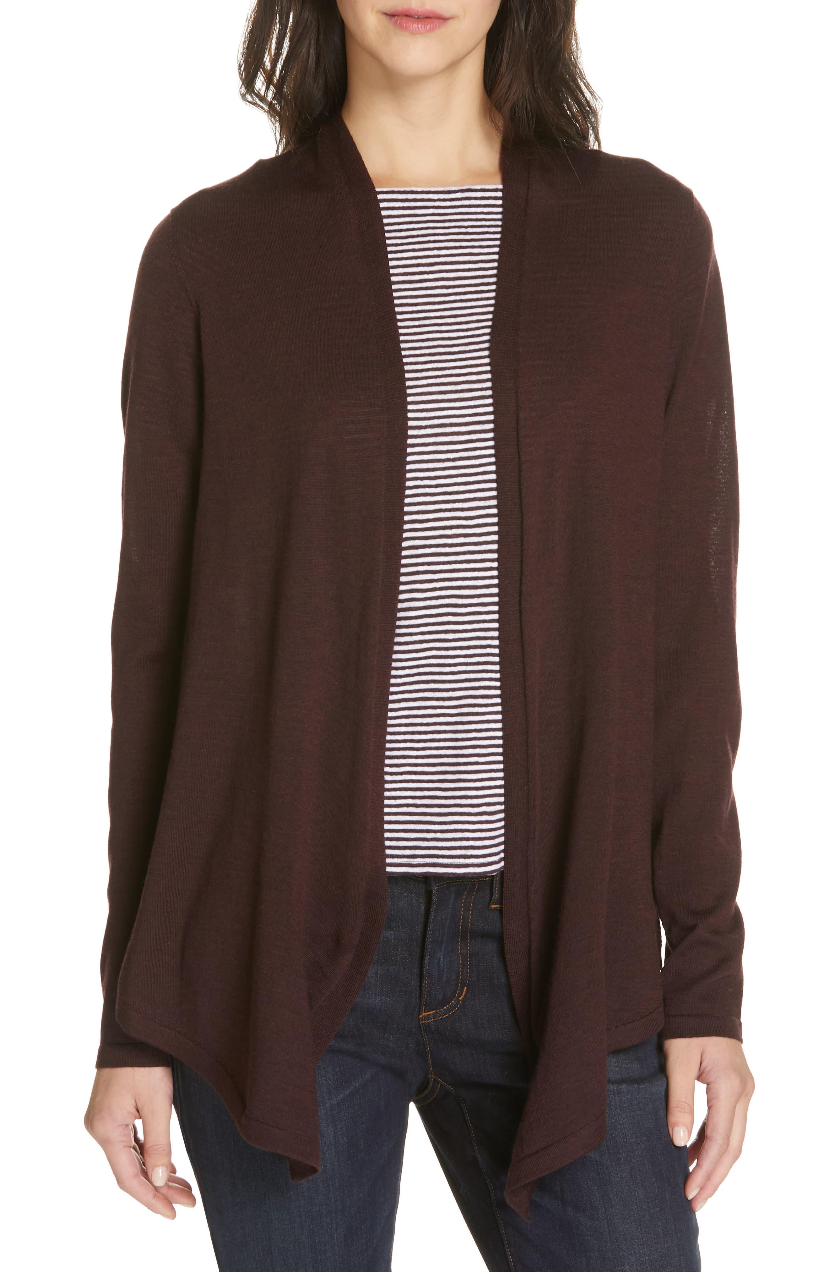 Petite Eileen Fisher Merino Wool Straight Cardigan, Purple