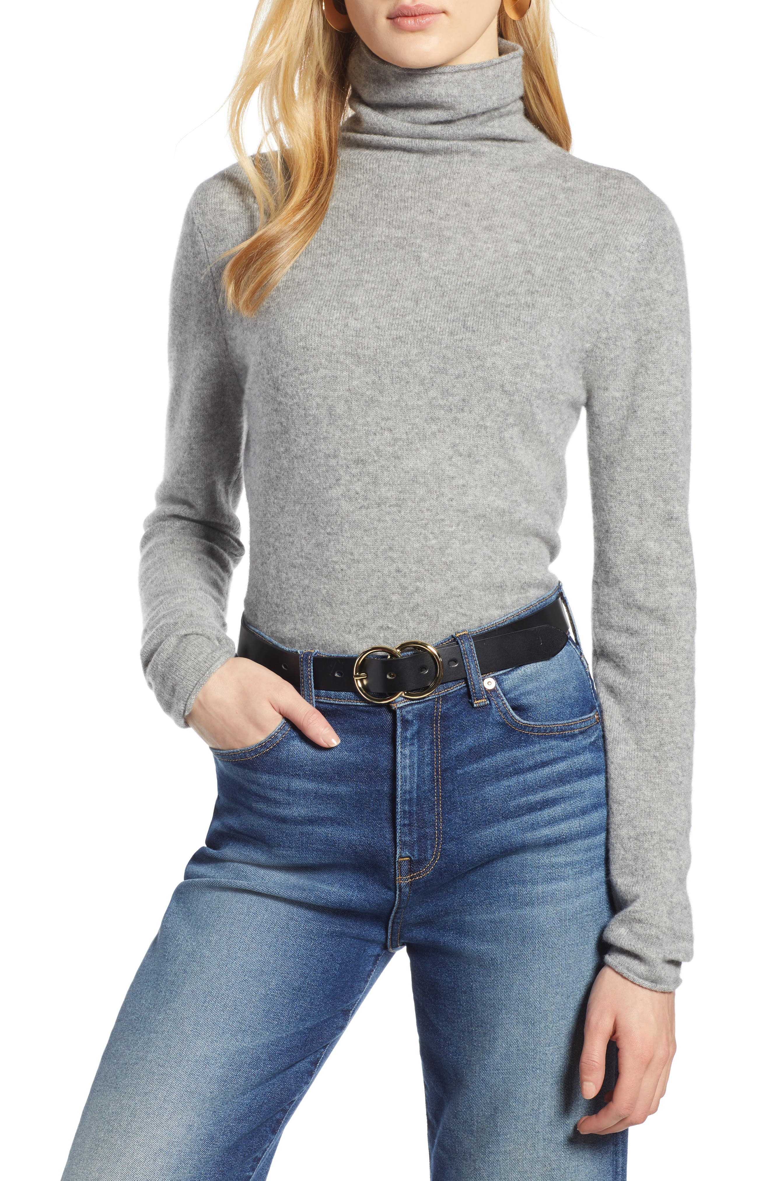 HALOGEN<SUP>®</SUP>,                             Funnel Neck Cashmere Sweater,                             Main thumbnail 1, color,                             GREY HEATHER