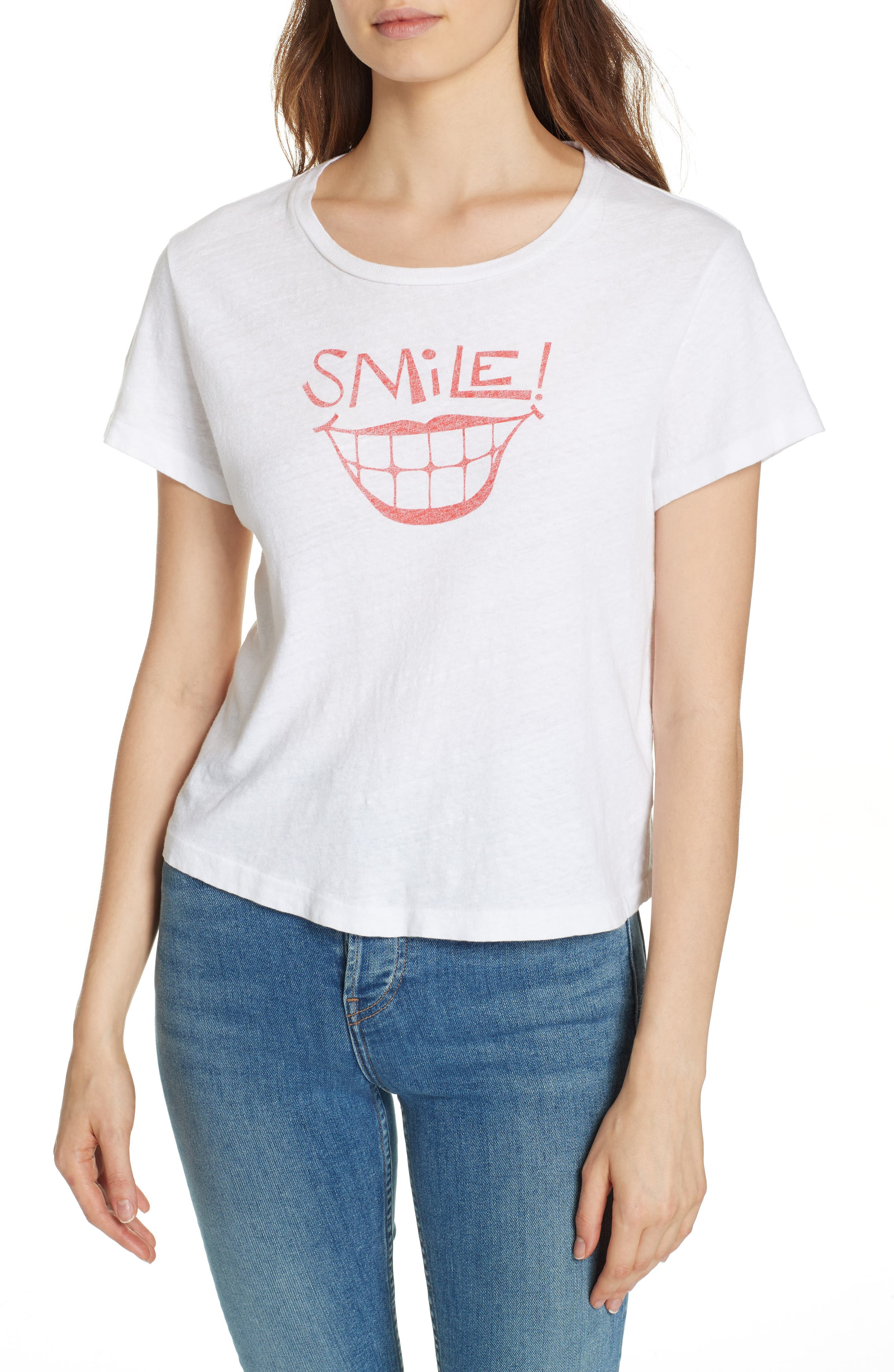Smile Graphic Tee,                         Main,                         color, OPTIC WHITE