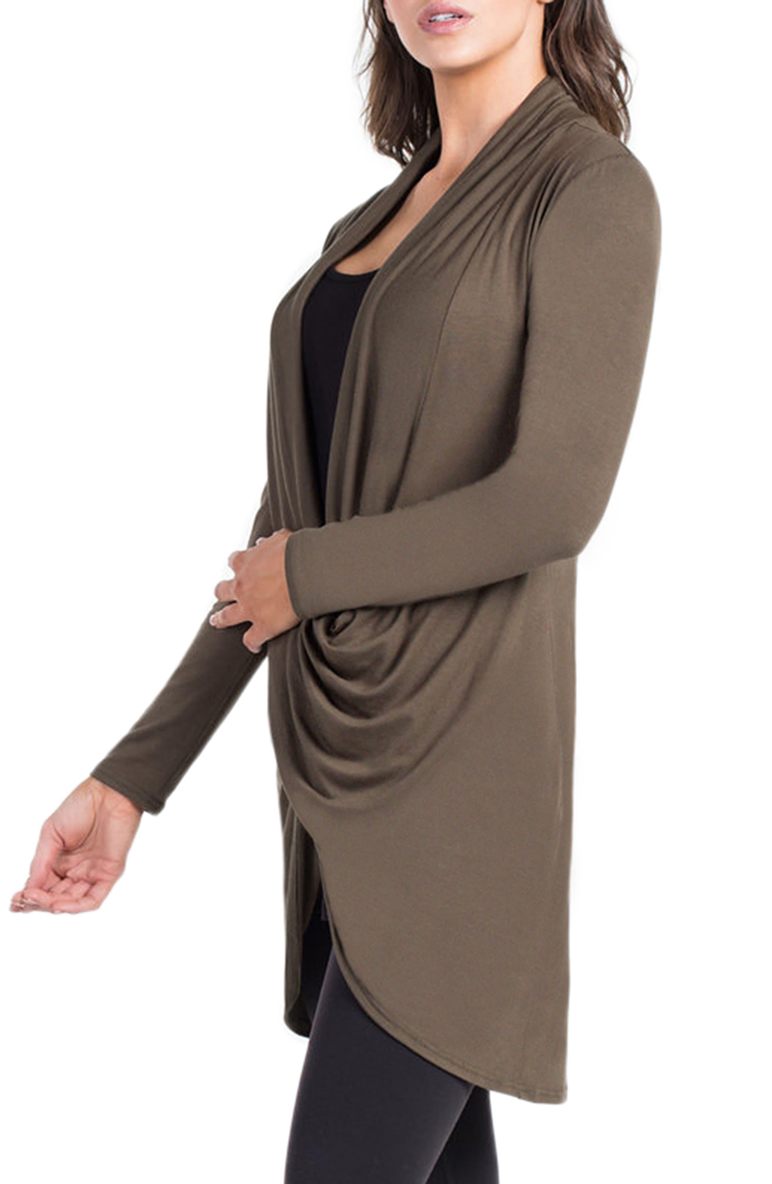 Nara Crossover Maternity/Nursing Tunic with Camisole,                             Alternate thumbnail 3, color,                             DARK OLIVE/ BLACK CAMI