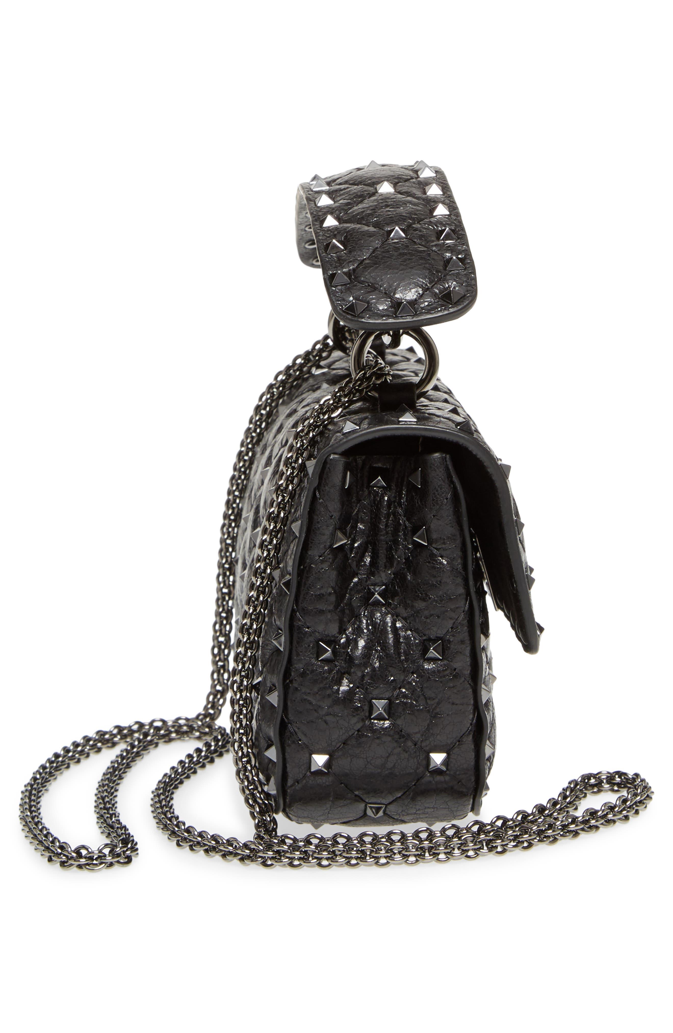 Vitello Rockstud Leather Shoulder Bag,                             Alternate thumbnail 5, color,                             001