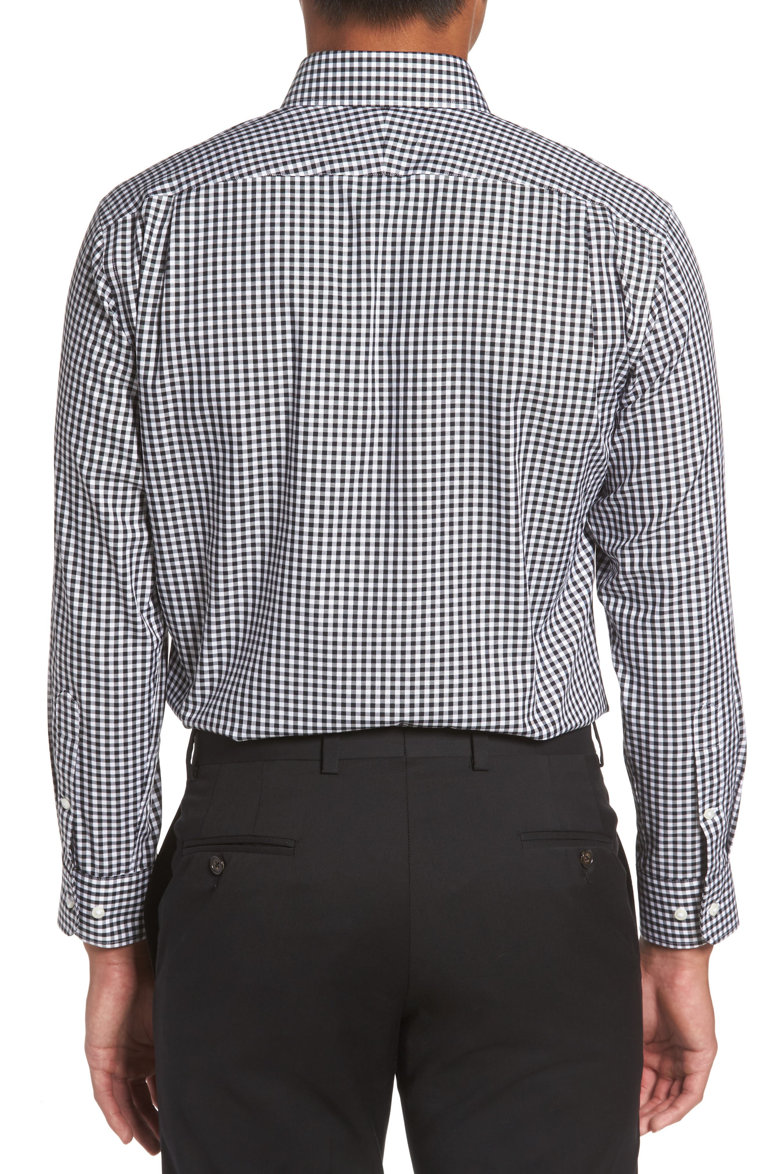 Trim Fit Non-Iron Gingham Dress Shirt,                             Alternate thumbnail 2, color,                             BLACK ROCK
