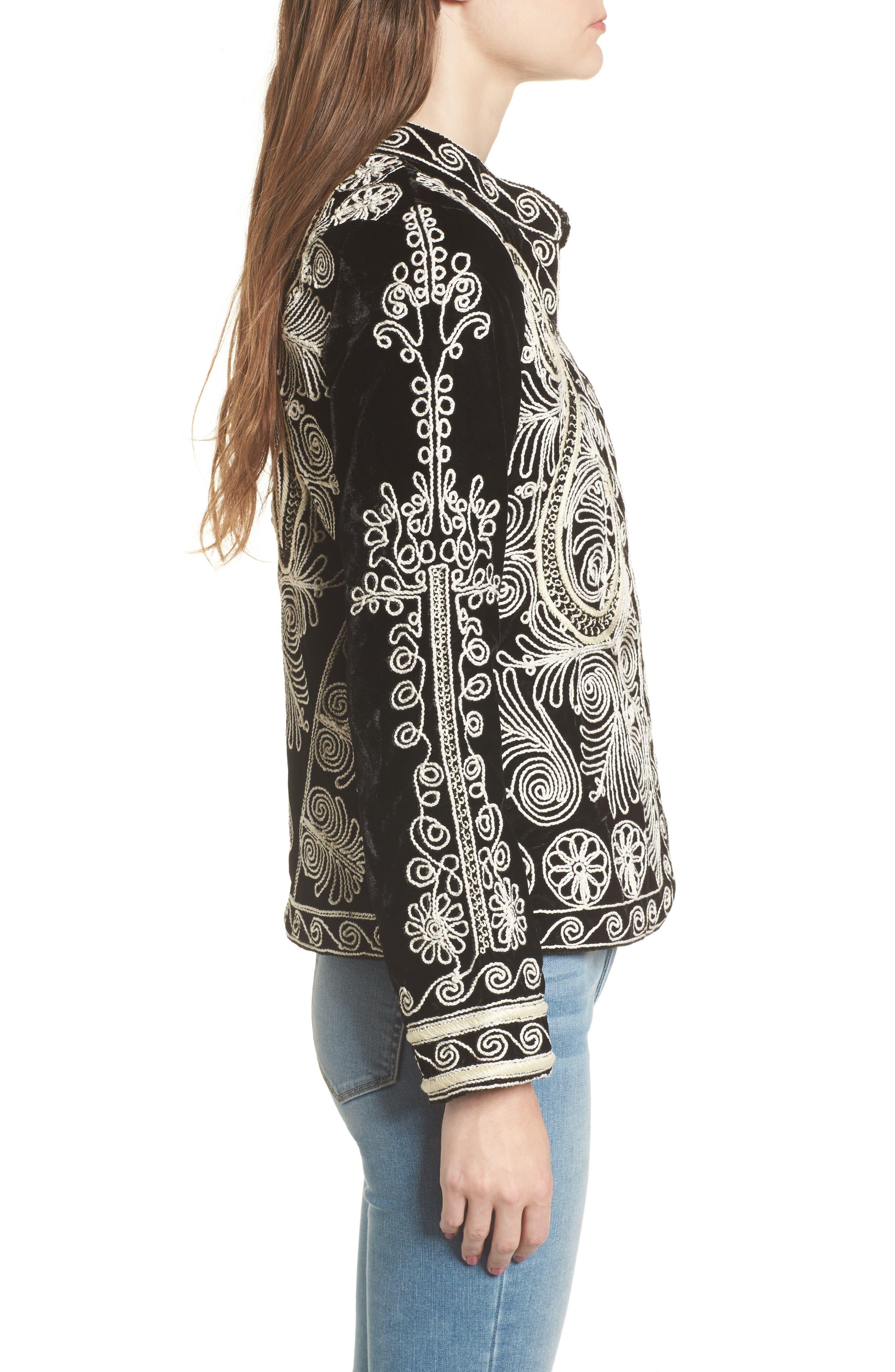 Embroidered Velvet Jacket,                             Alternate thumbnail 3, color,                             001
