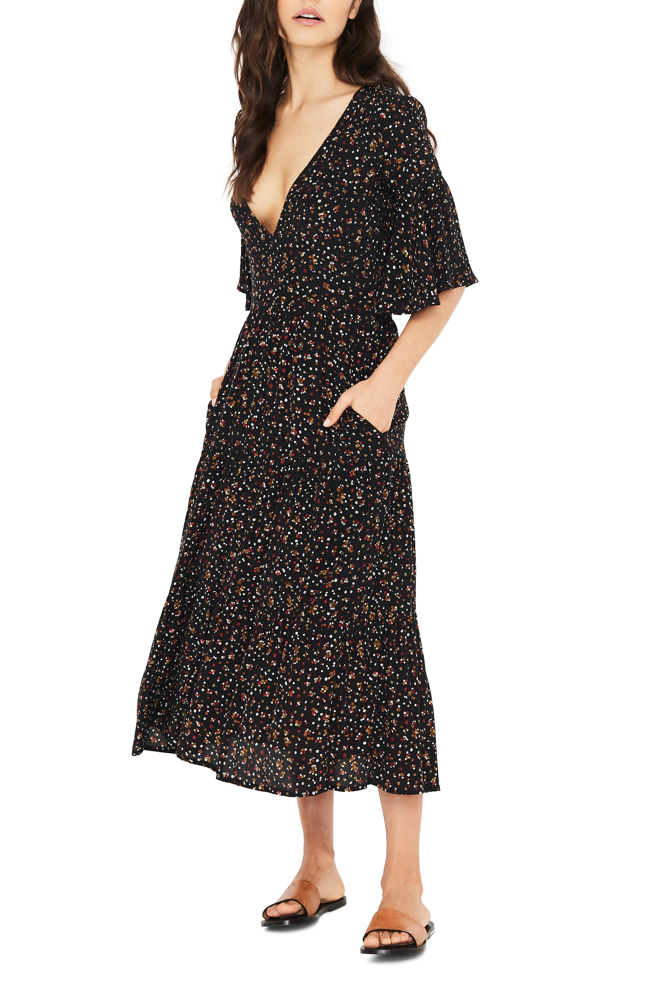 Melia Ditsy Floral Print Midi Dress,                             Alternate thumbnail 3, color,                             001