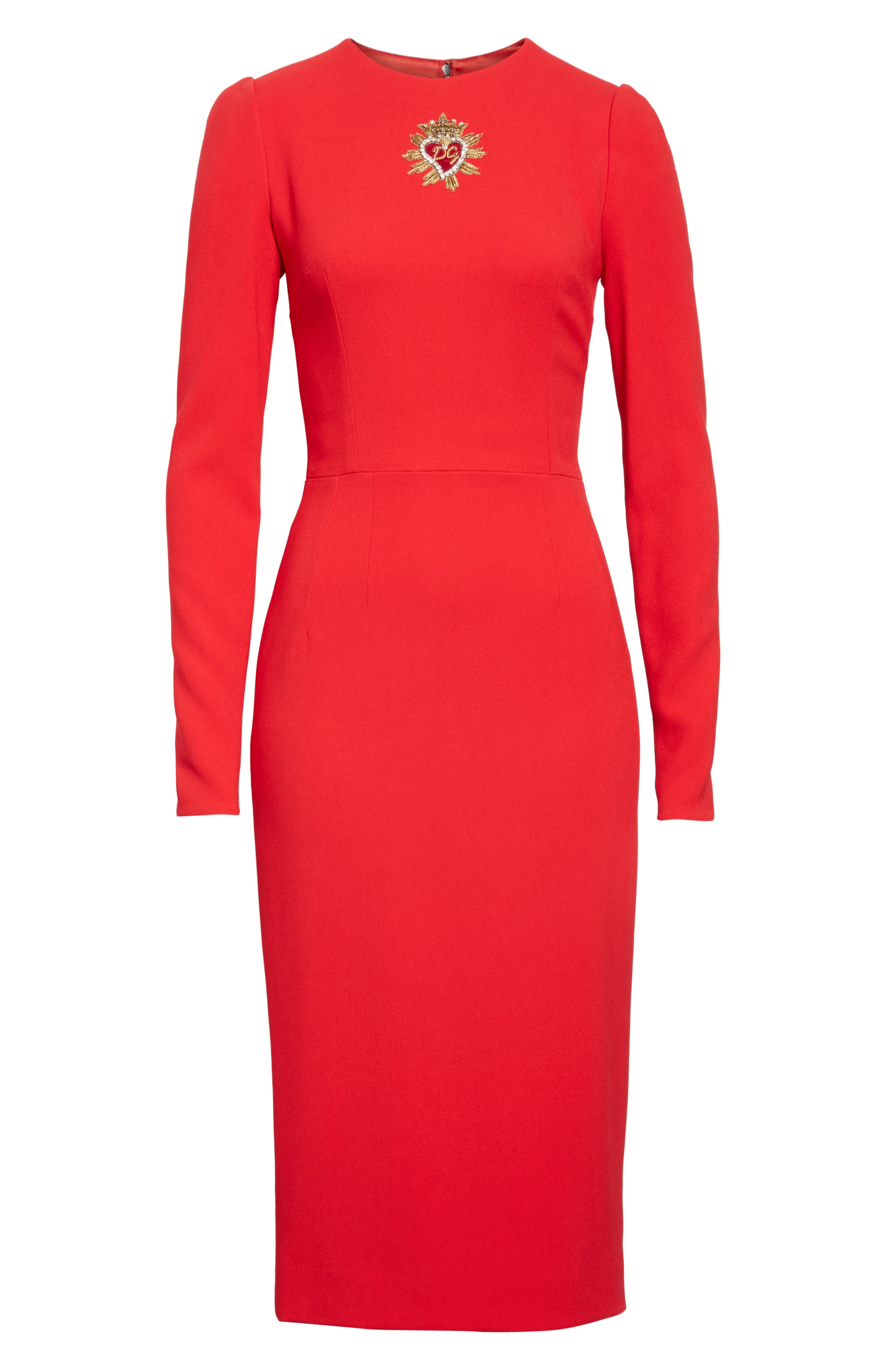 DOLCE&GABBANA,                             Sacred Heart Patch Cady Pencil Dress,                             Alternate thumbnail 6, color,                             RED