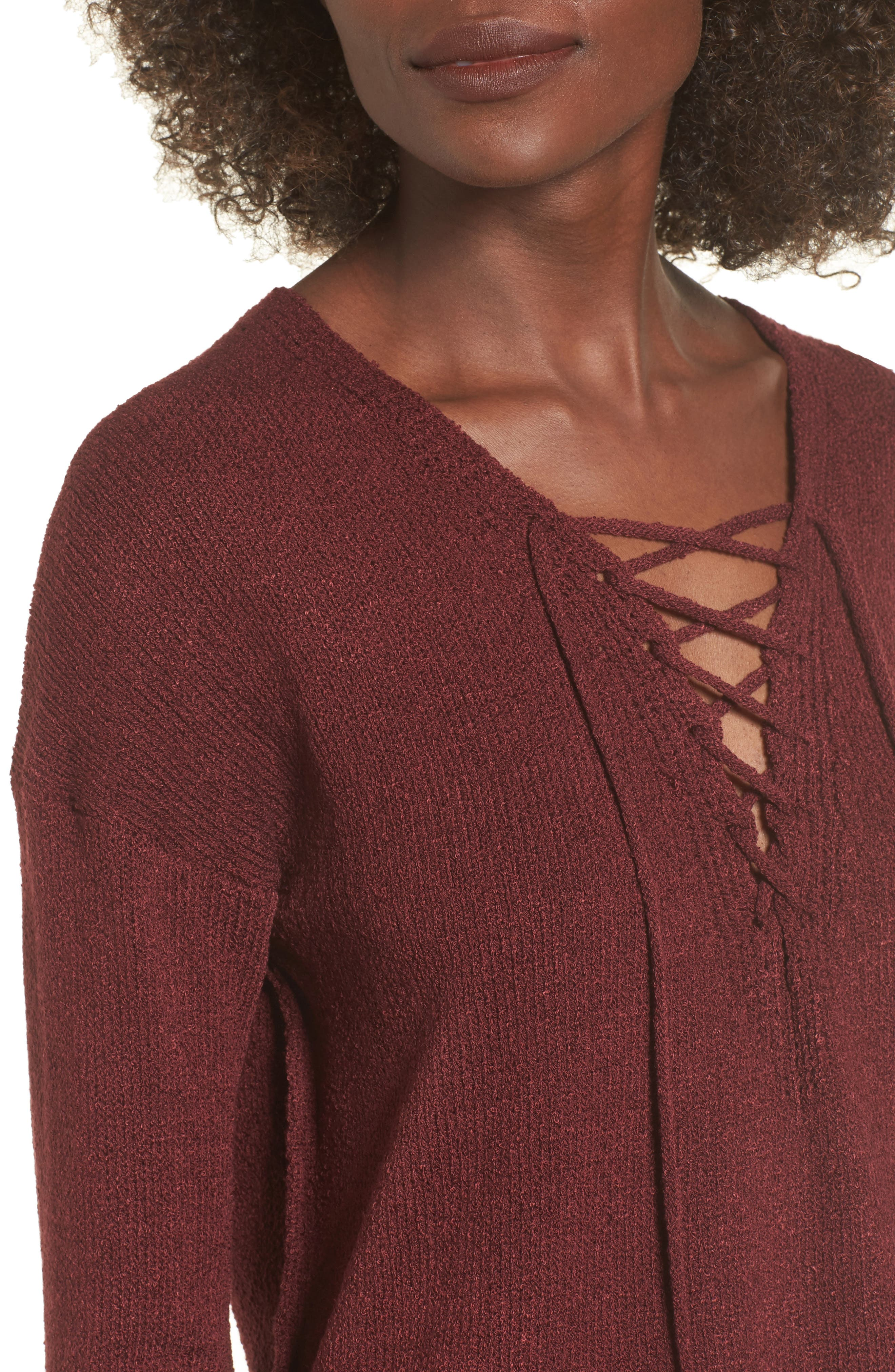 ASTR Lace-Up Sweater,                             Alternate thumbnail 4, color,                             930