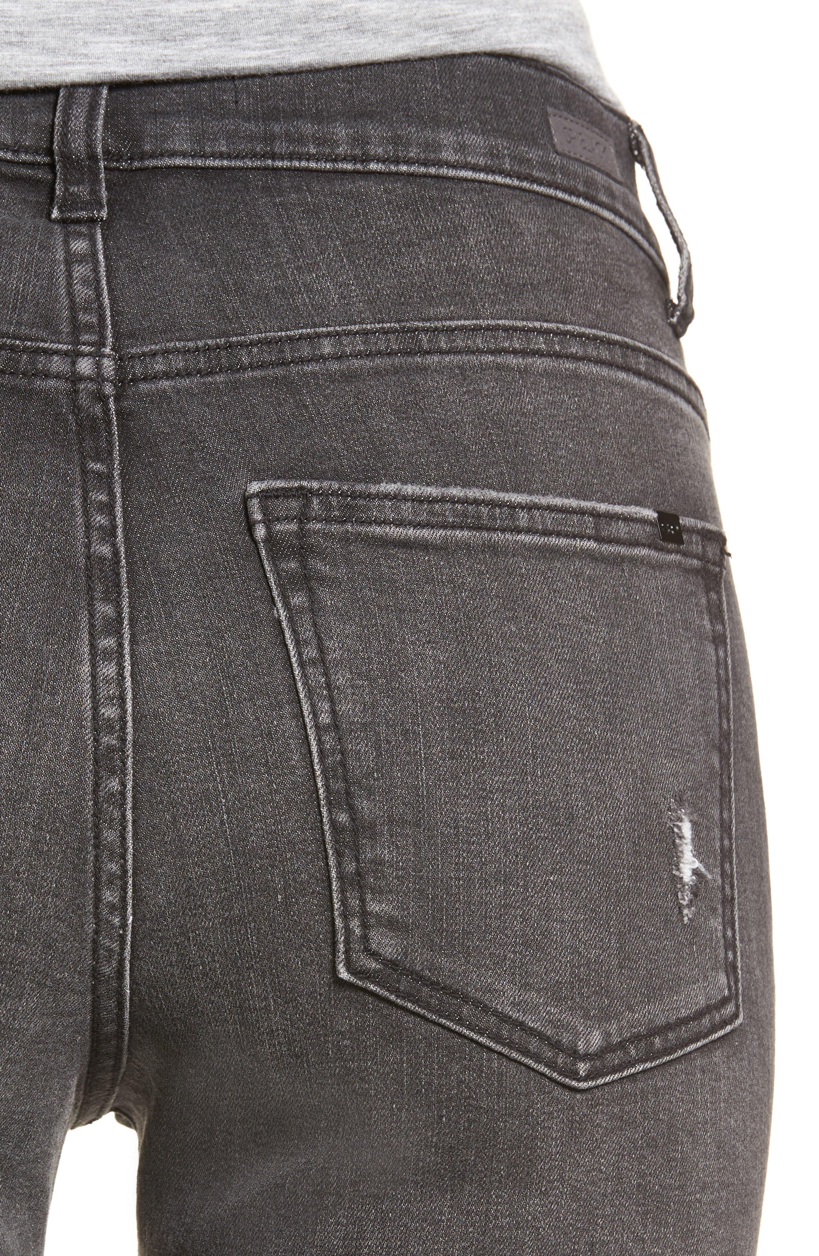 Ripped Release Hem Skinny Jeans,                             Alternate thumbnail 4, color,                             021