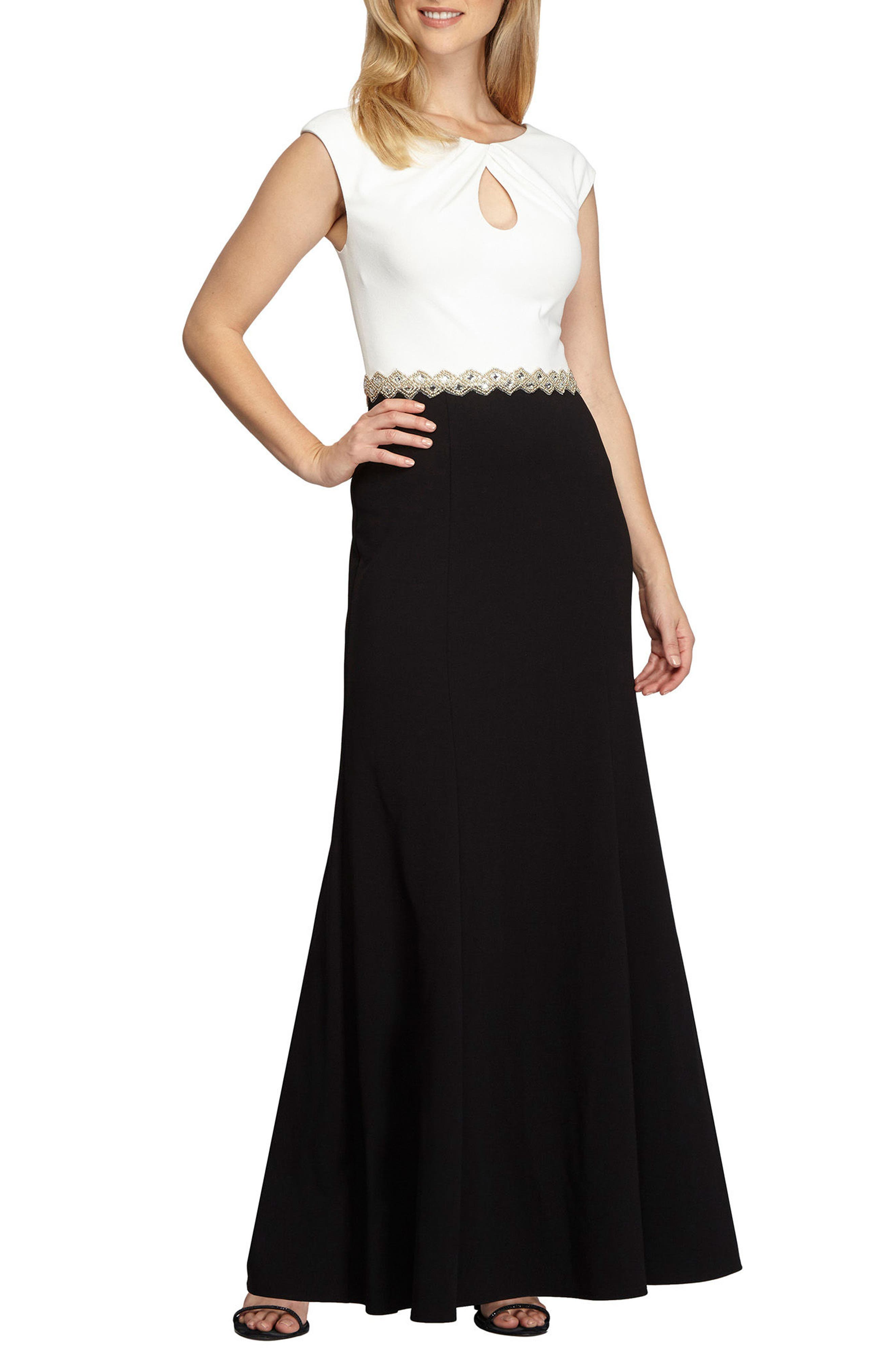 Embellished Colorblock Gown,                             Main thumbnail 1, color,                             004