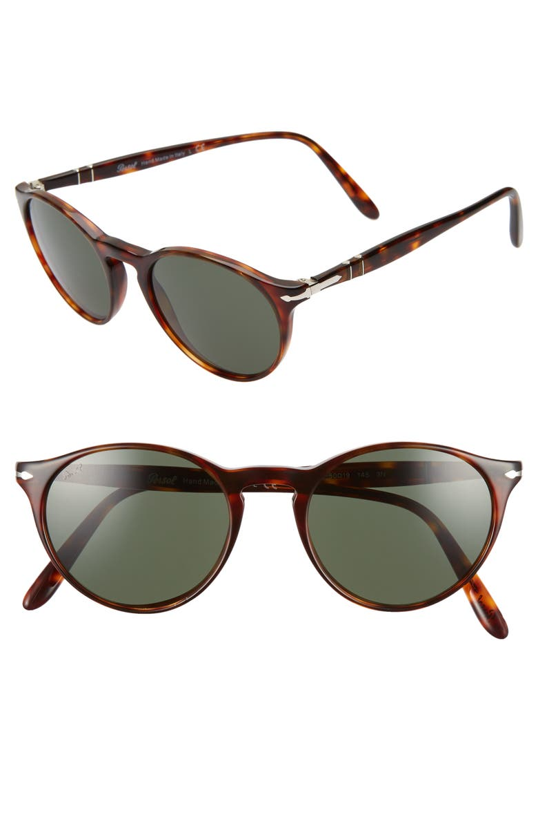 Persol 50MM ROUND SUNGLASSES - HAVANA/ GREEN SOLID