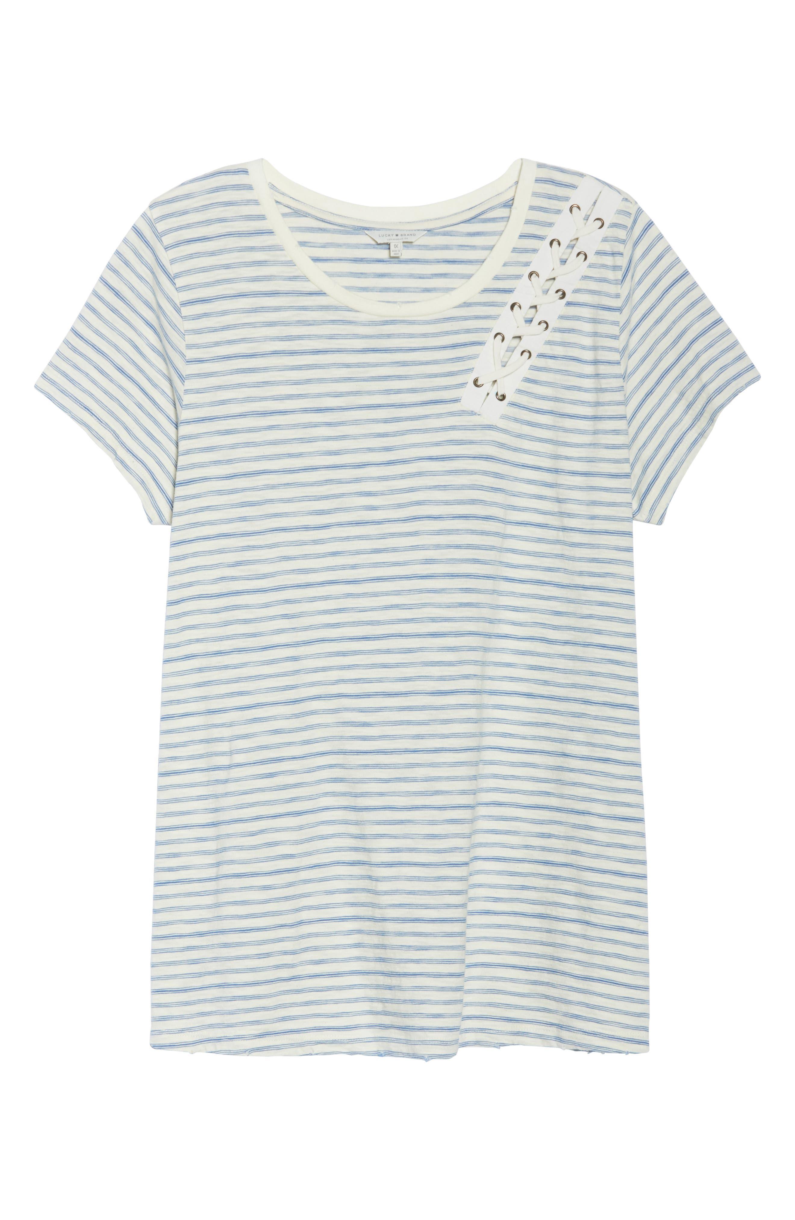 Lace-Up Shoulder Stripe Tee,                             Alternate thumbnail 7, color,                             460