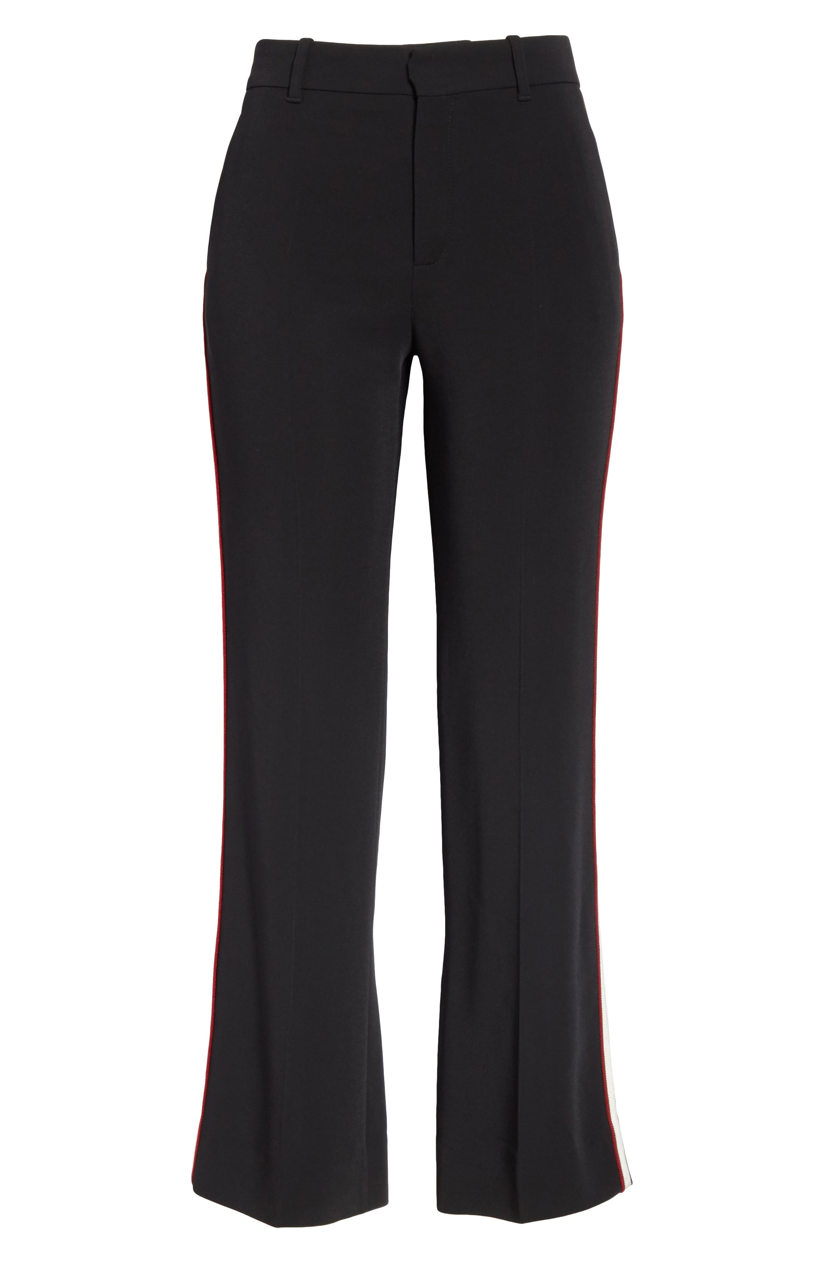 GUCCI,                             Side Stripe Stretch Cady Crop Flare Pants,                             Alternate thumbnail 3, color,                             BLACK