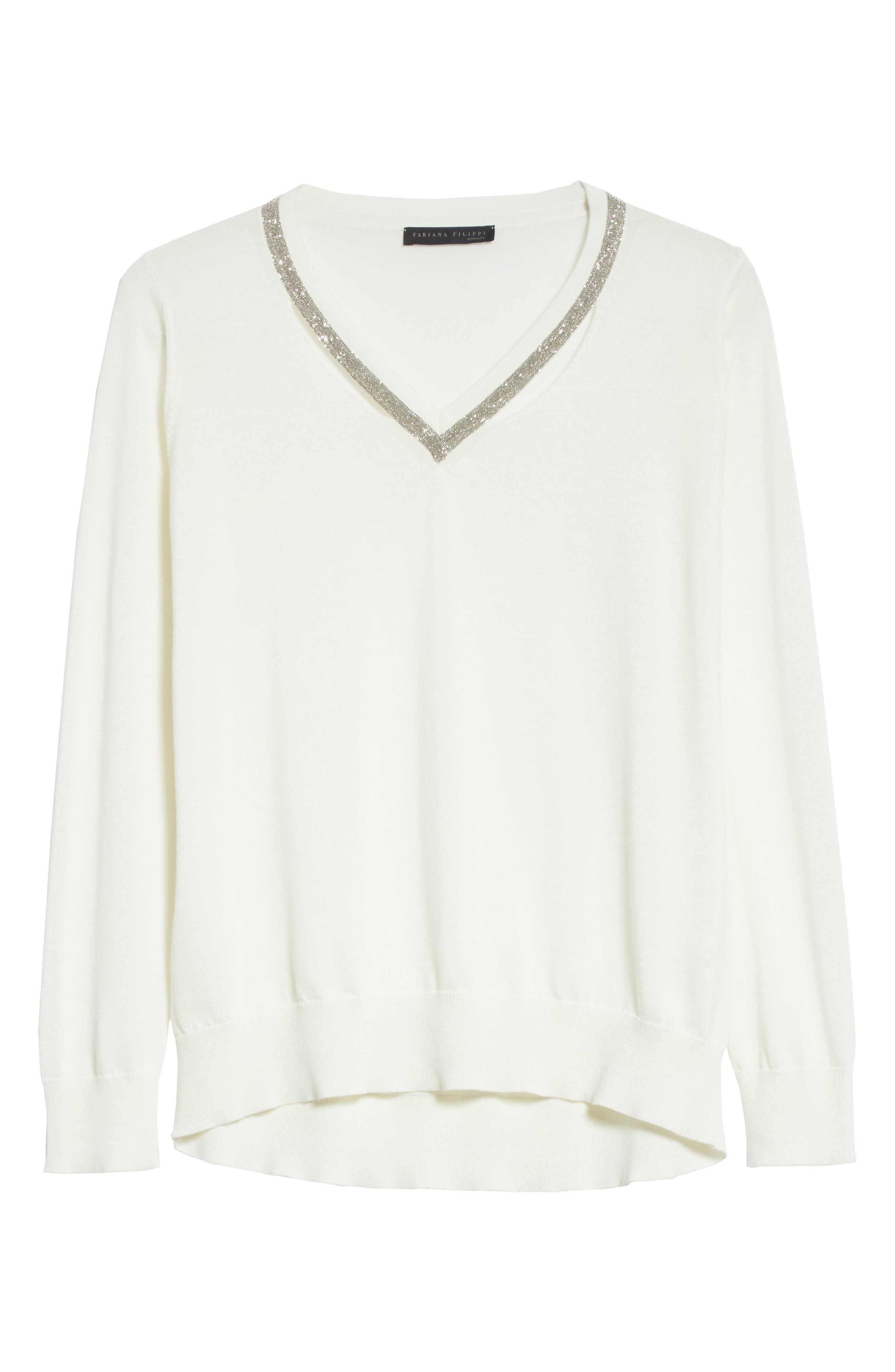 Embellished Cutout Cotton Sweater,                             Alternate thumbnail 6, color,