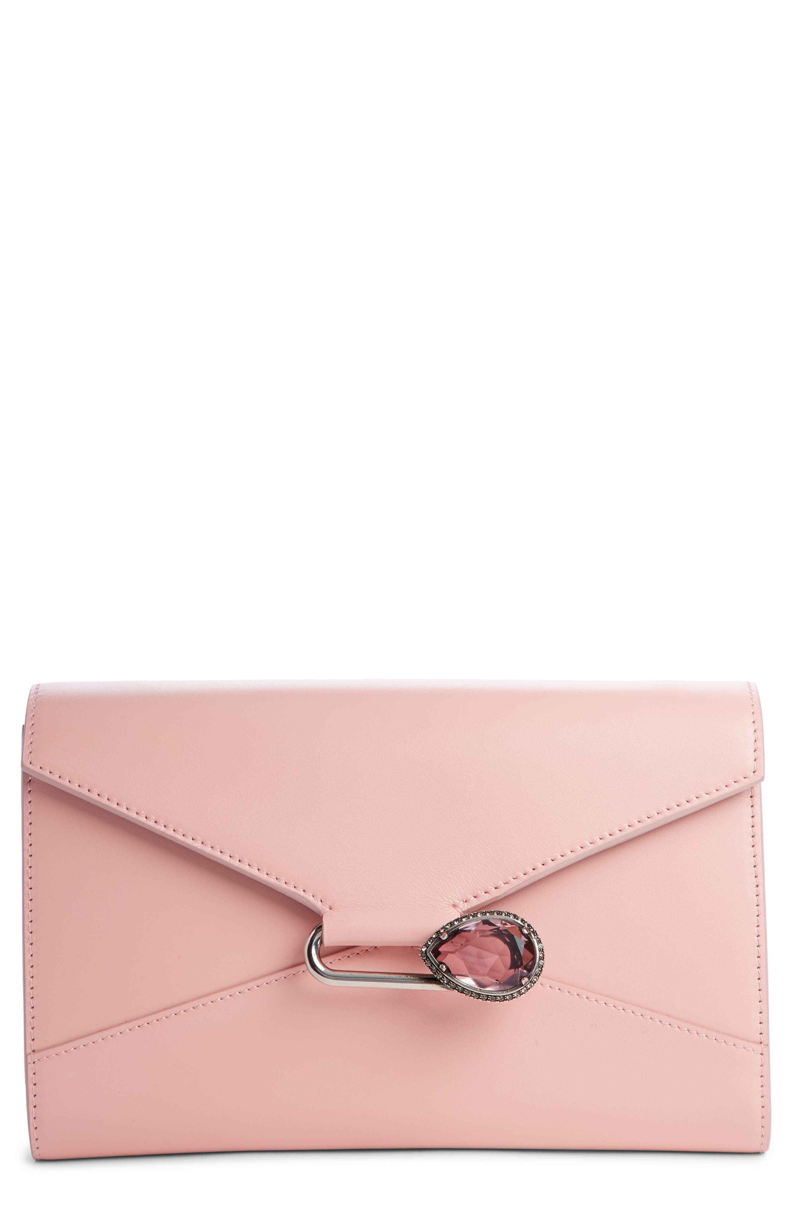 Pin Calfskin Wallet on a Chain,                             Main thumbnail 1, color,                             ANEMONE