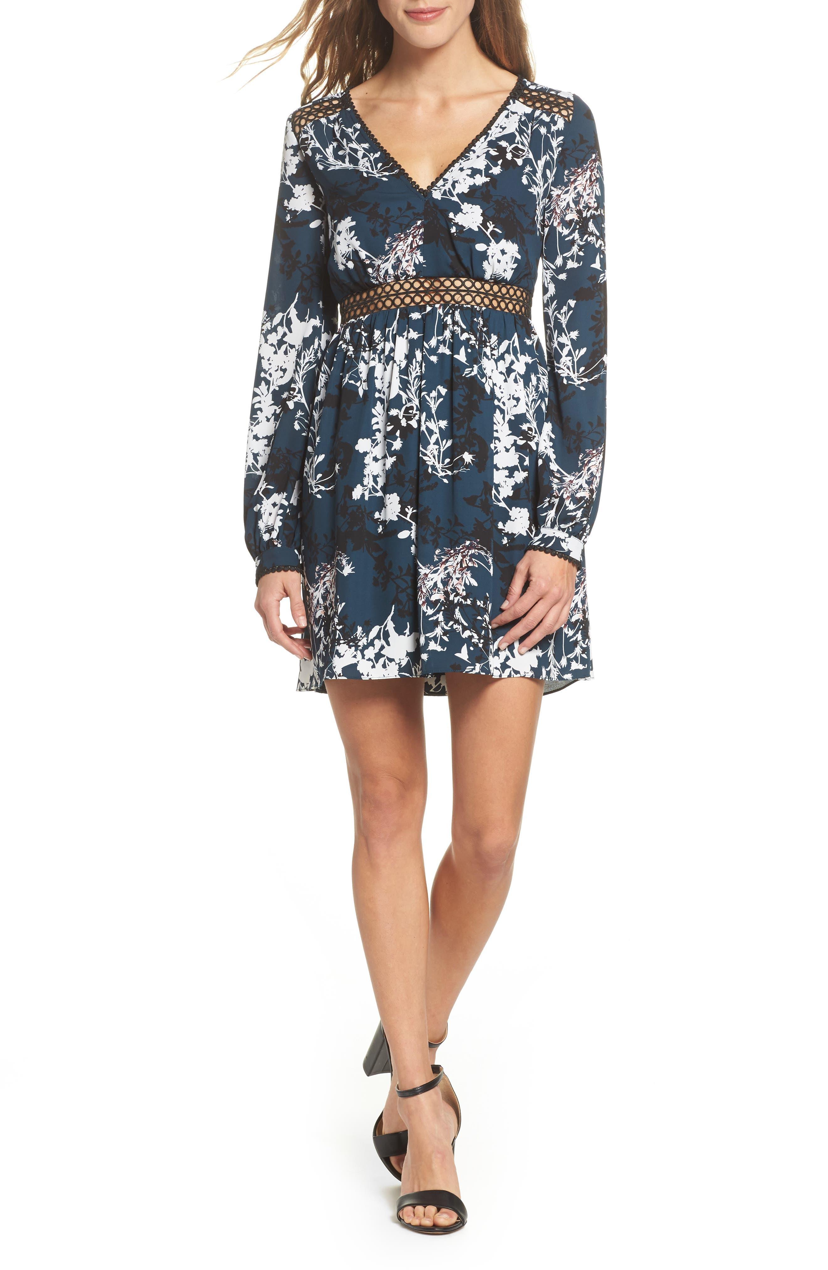 Print Babydoll Dress,                         Main,                         color, 556