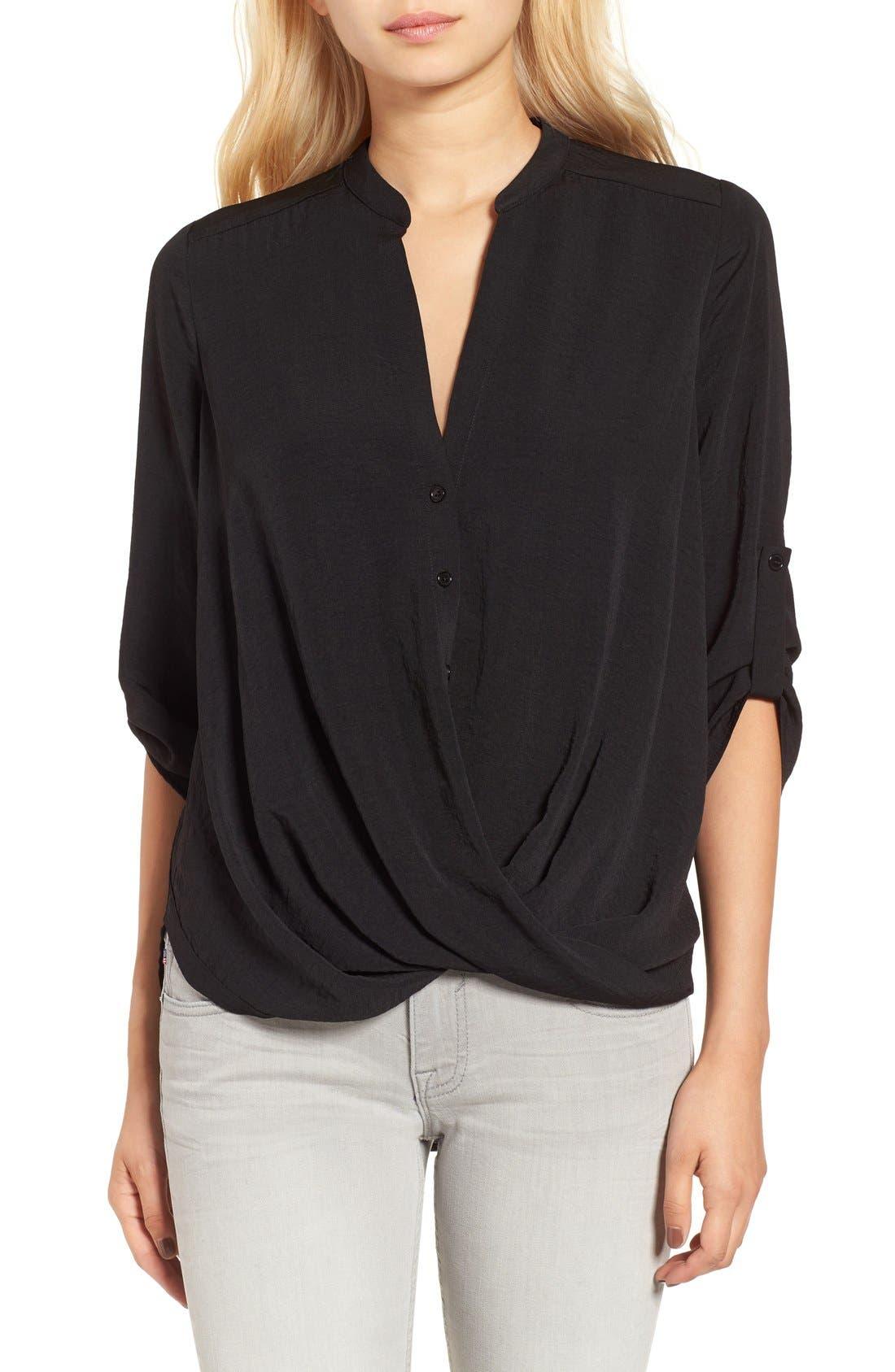 Twist Front Woven Shirt,                         Main,                         color, 001