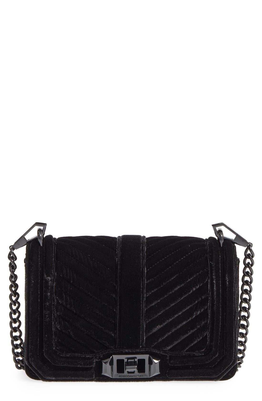 Small Love Quilted Velvet Crossbody Bag,                             Main thumbnail 1, color,                             001