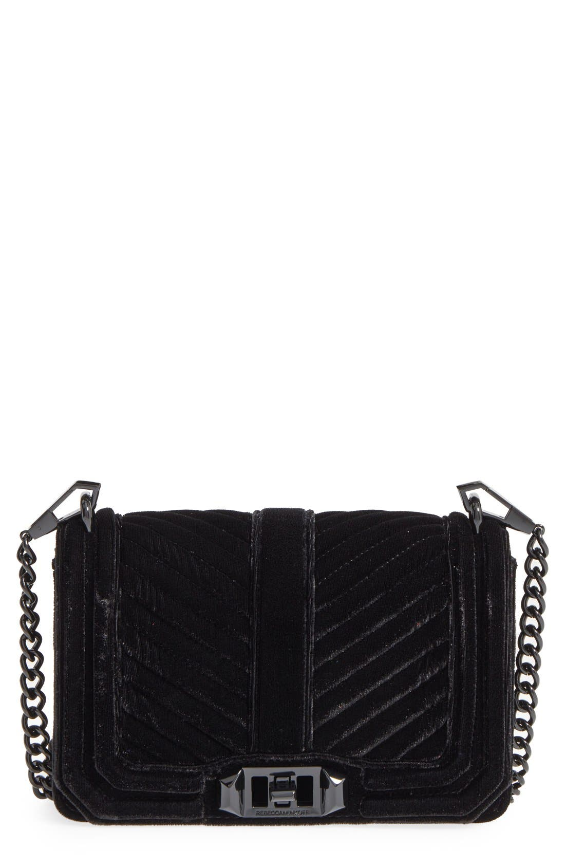 Small Love Quilted Velvet Crossbody Bag,                         Main,                         color, 001
