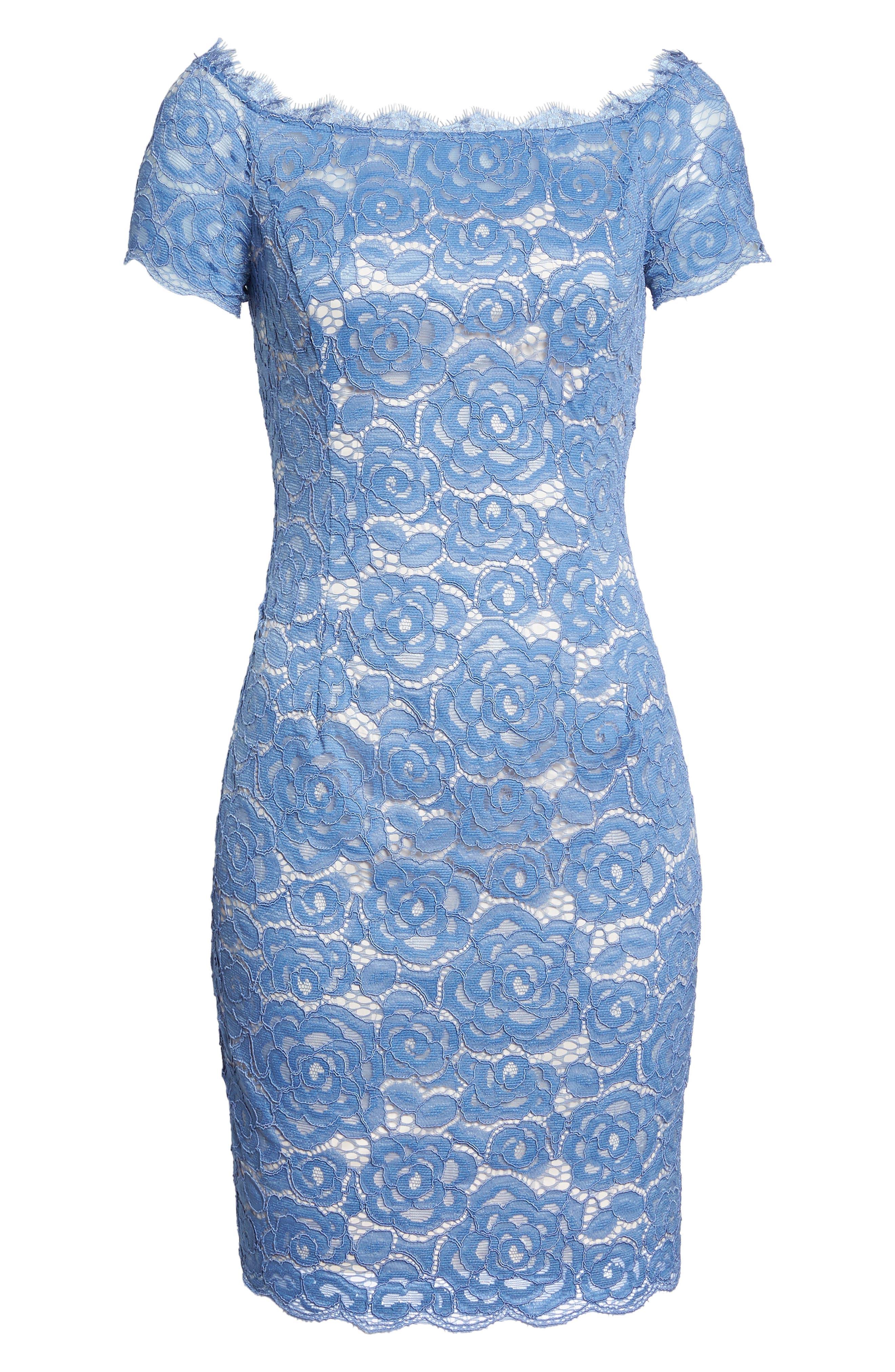 Off the Shoulder Lace Sheath Dress,                             Alternate thumbnail 32, color,