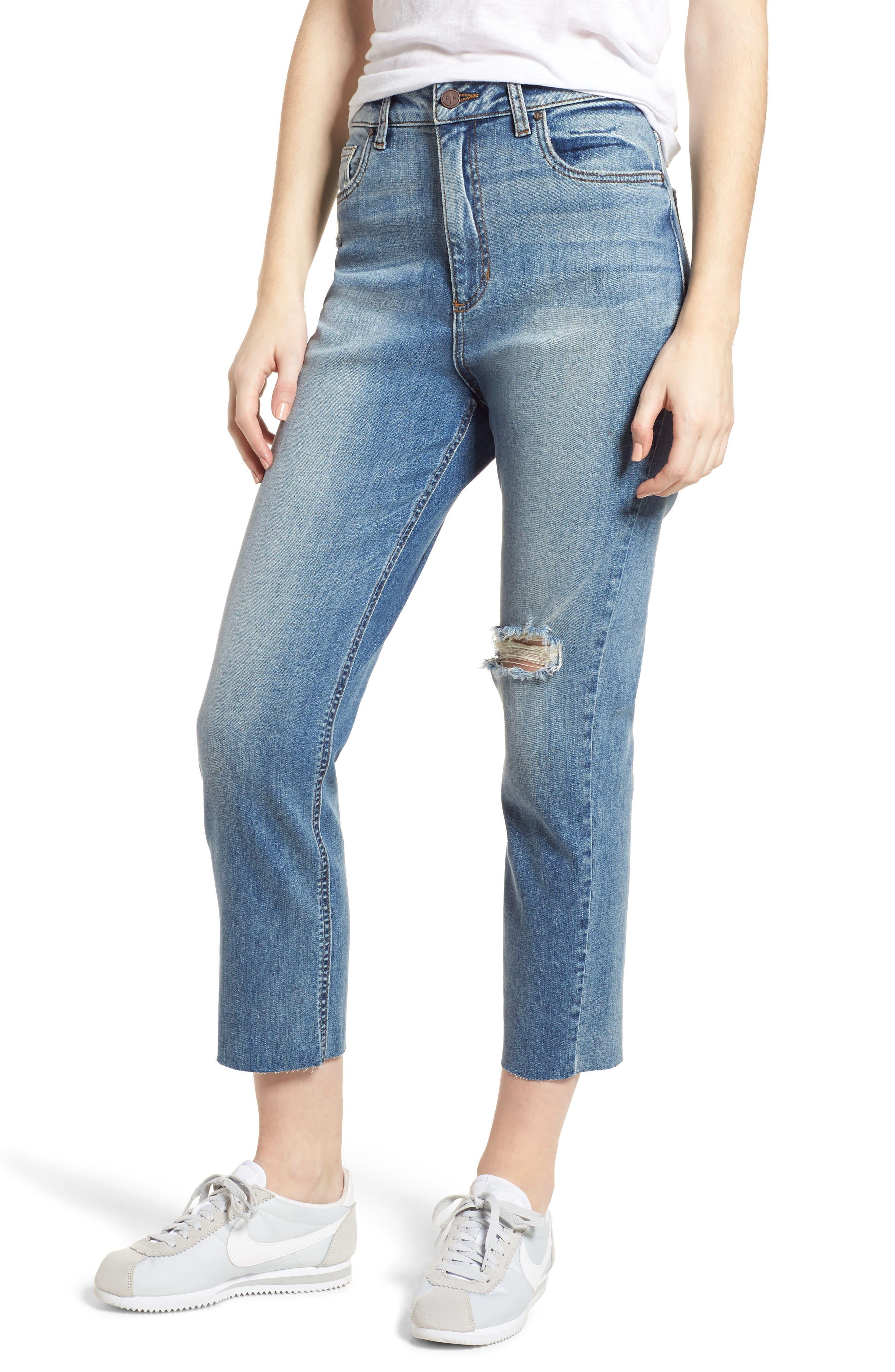 High Waist Crop Jeans,                             Main thumbnail 1, color,                             400