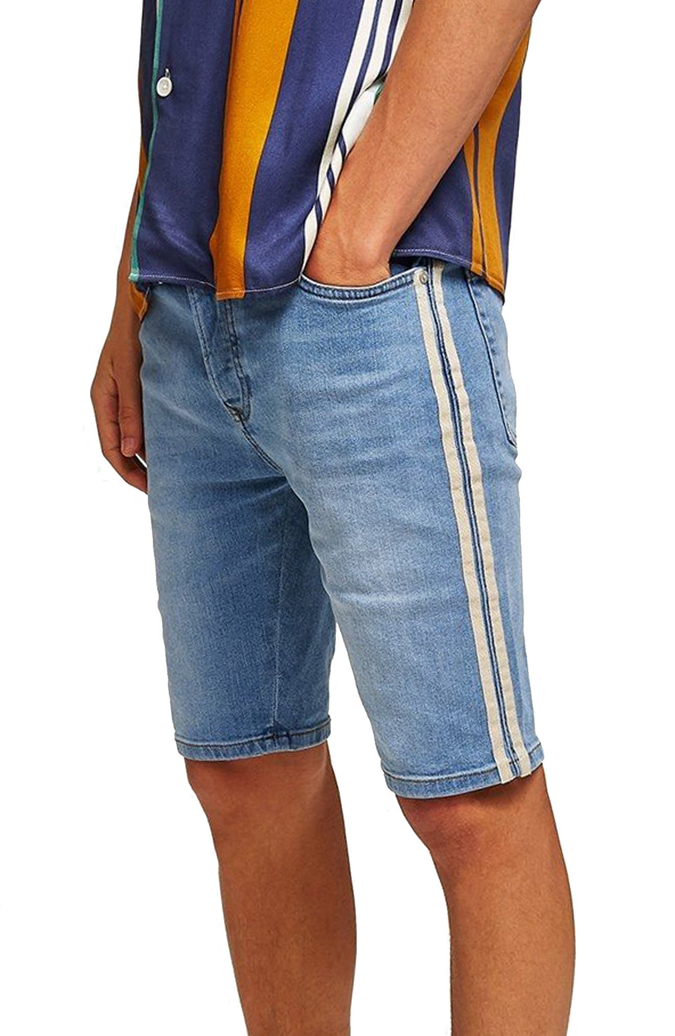 Tape Stretch Skinny Fit Denim Shorts,                             Main thumbnail 1, color,                             BLUE