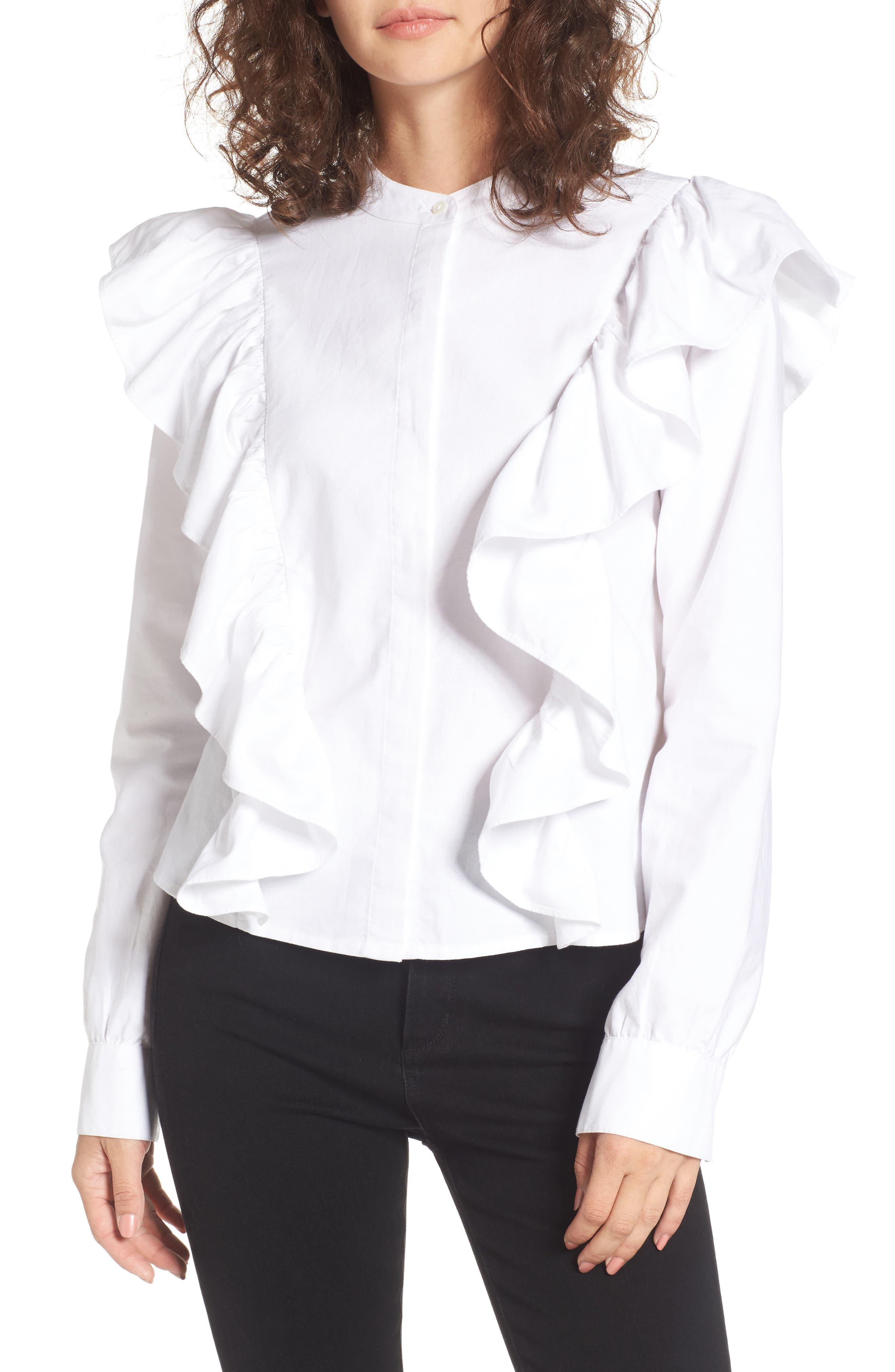 Ruffle Cotton Blouse,                         Main,                         color, 100
