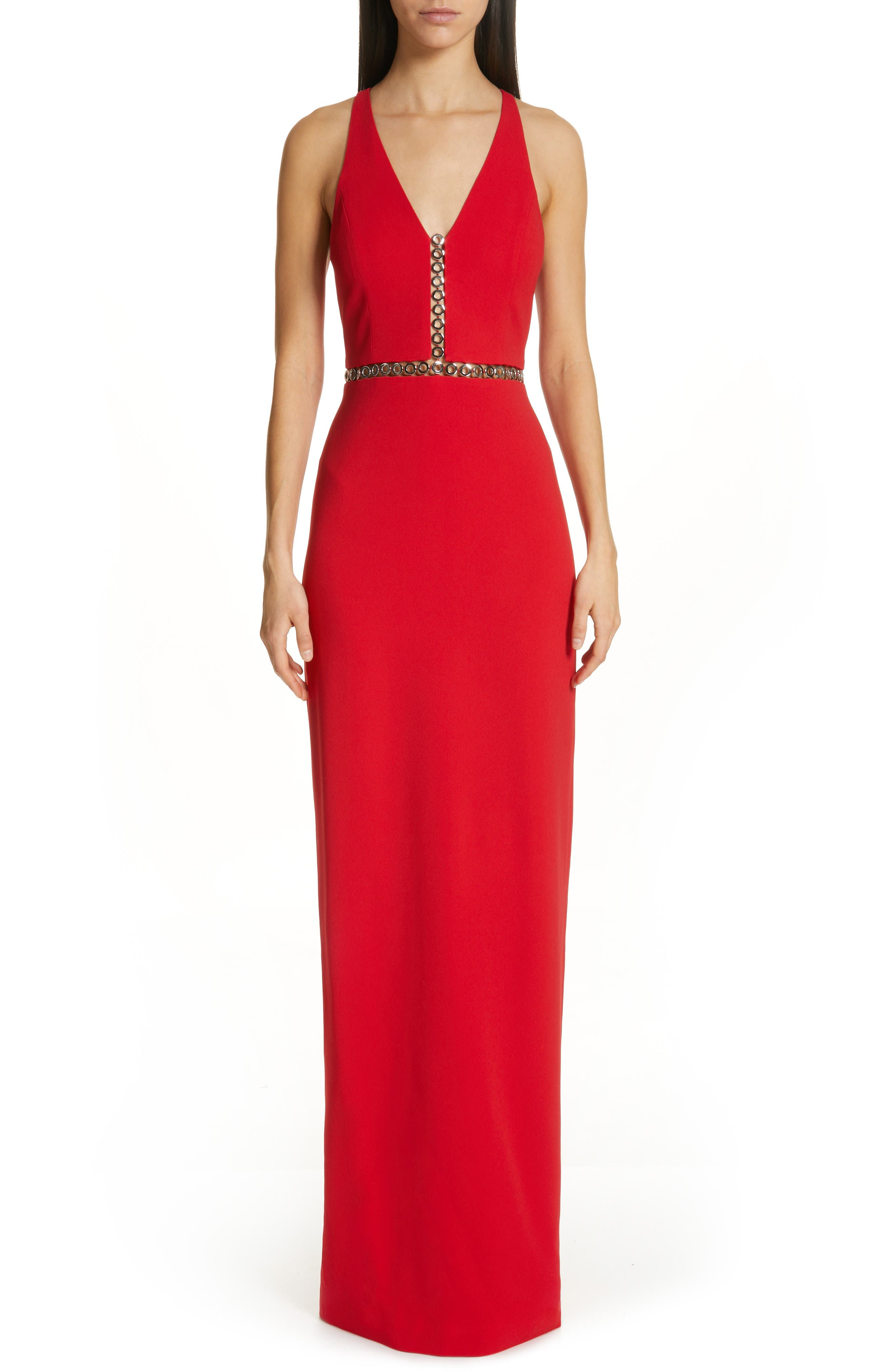 Alexander Wang Grommet Trim Racerback Column Gown, Red