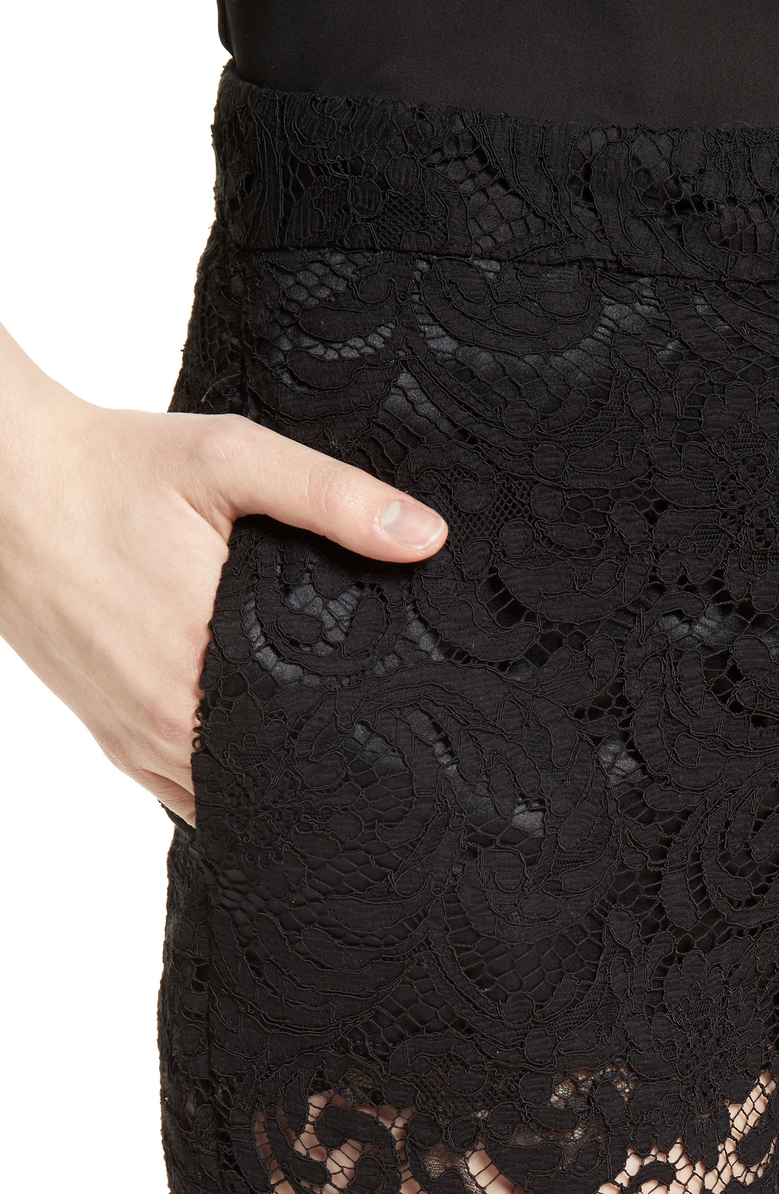 Lace Tuxedo Pants,                             Alternate thumbnail 4, color,                             001