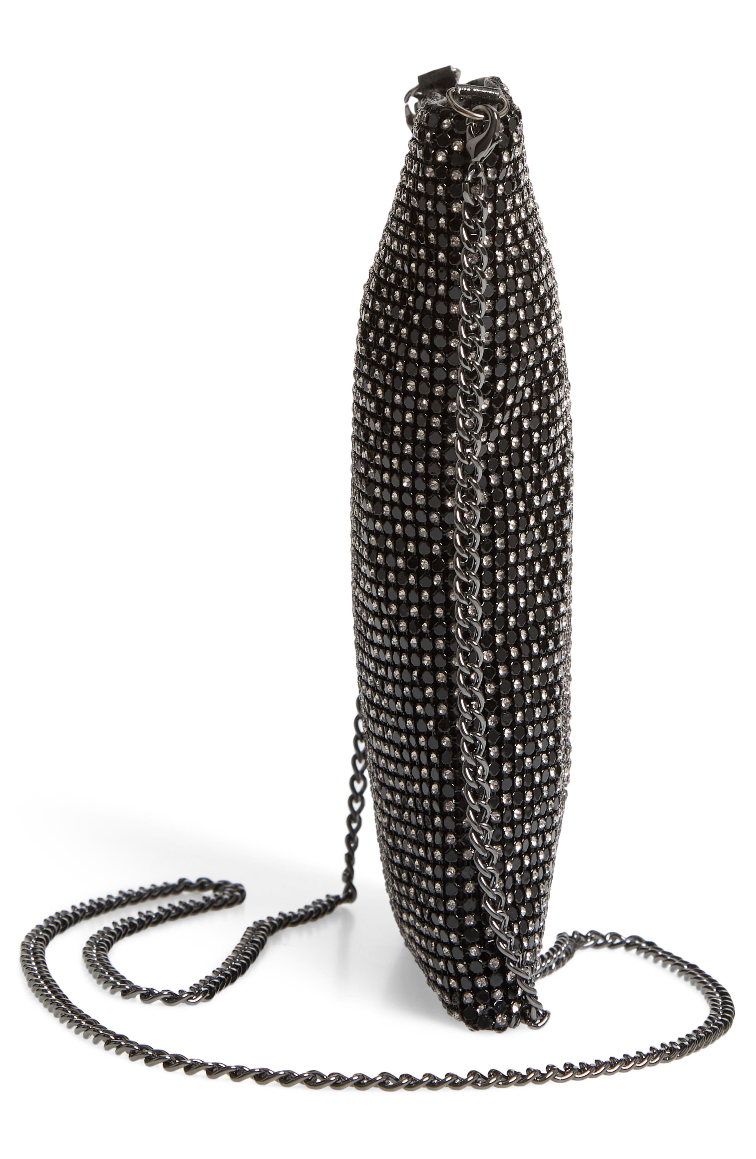Crystal Mesh Crossbody Bag,                             Alternate thumbnail 5, color,                             BLACK