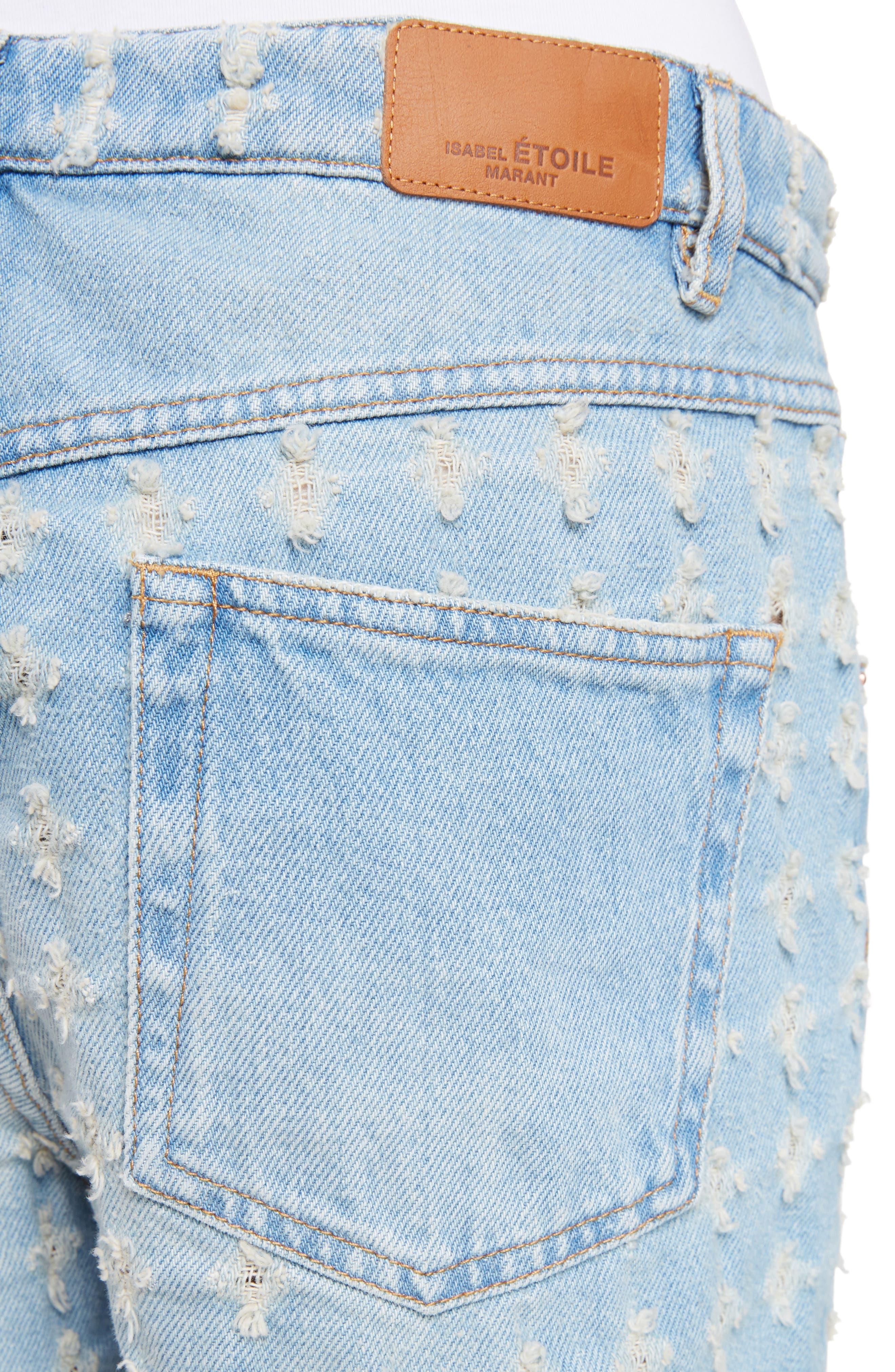Isabel Marant Étoile Ripped Denim Shorts,                             Alternate thumbnail 8, color,