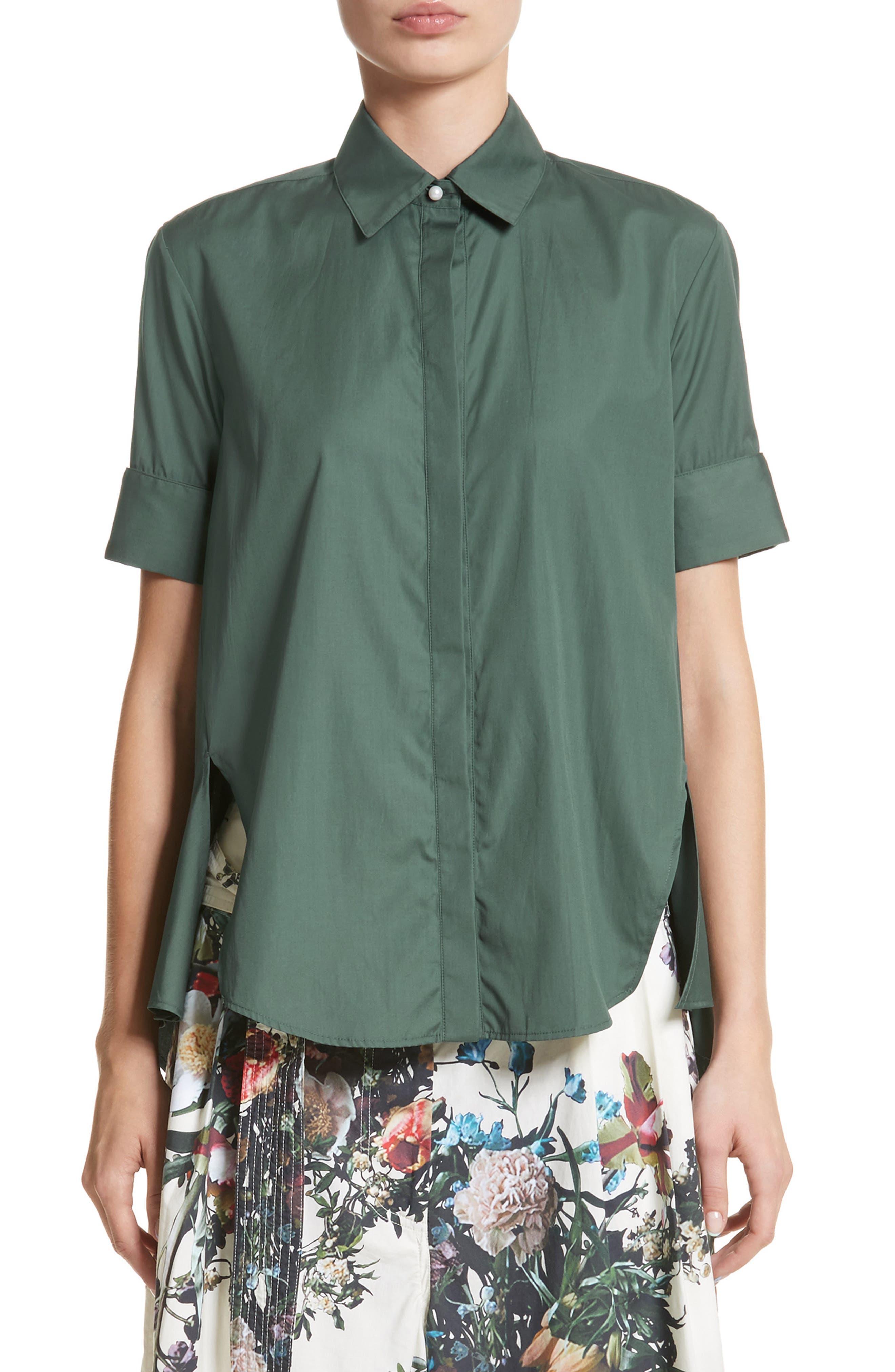 Cotton Poplin Trapeze Shirt,                             Main thumbnail 1, color,                             310