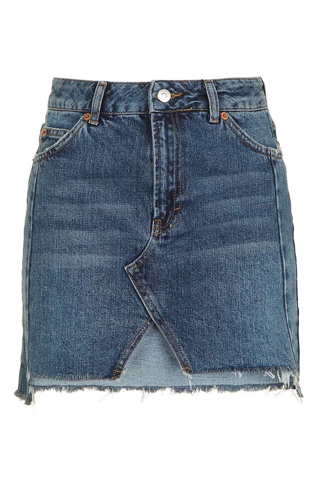 Moto Patchwork Denim Skirt,                             Alternate thumbnail 6, color,                             400