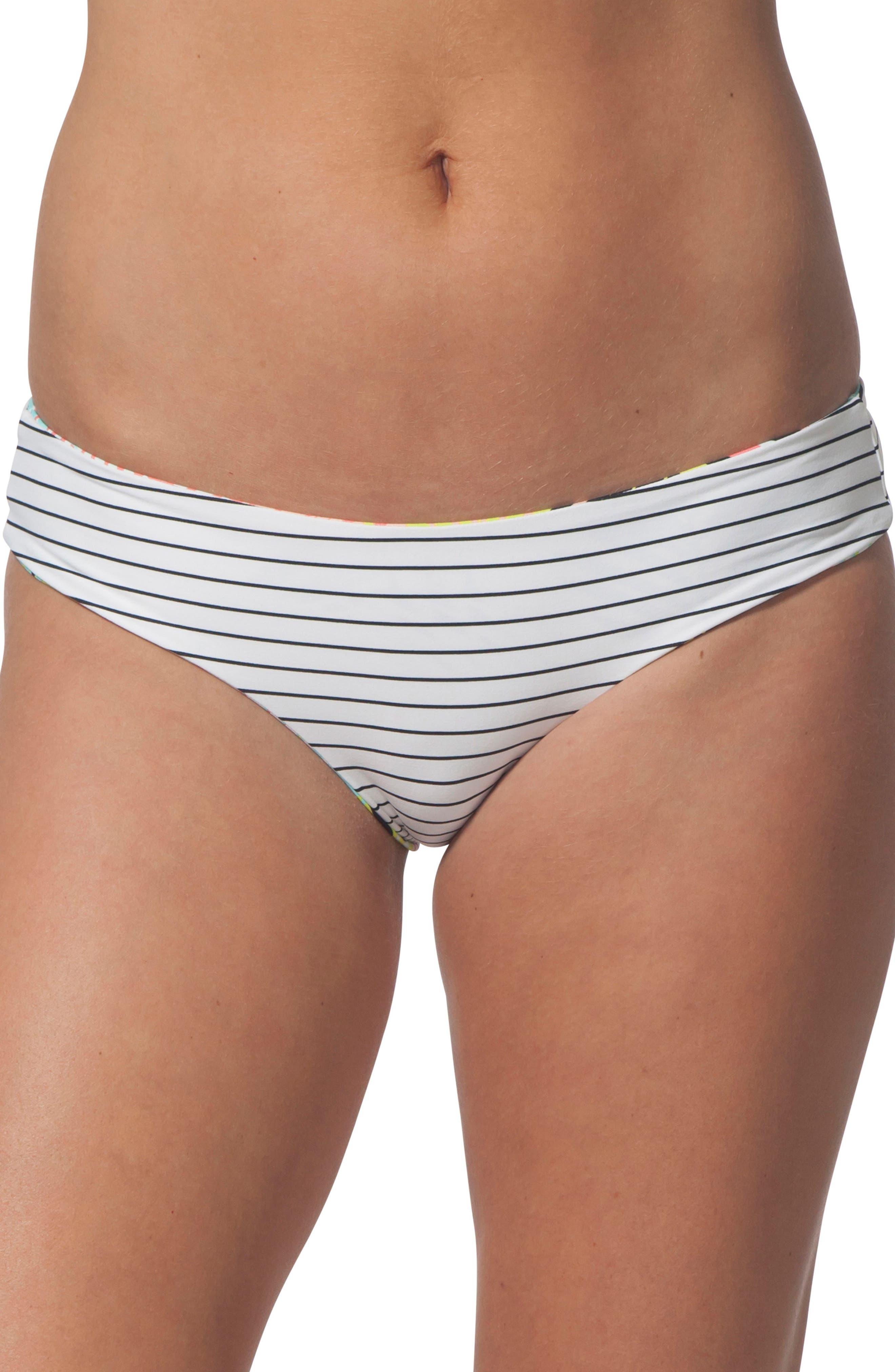 Miami Vibes Reversible Hipster Bikini Bottoms,                         Main,                         color, WHITE MULTI