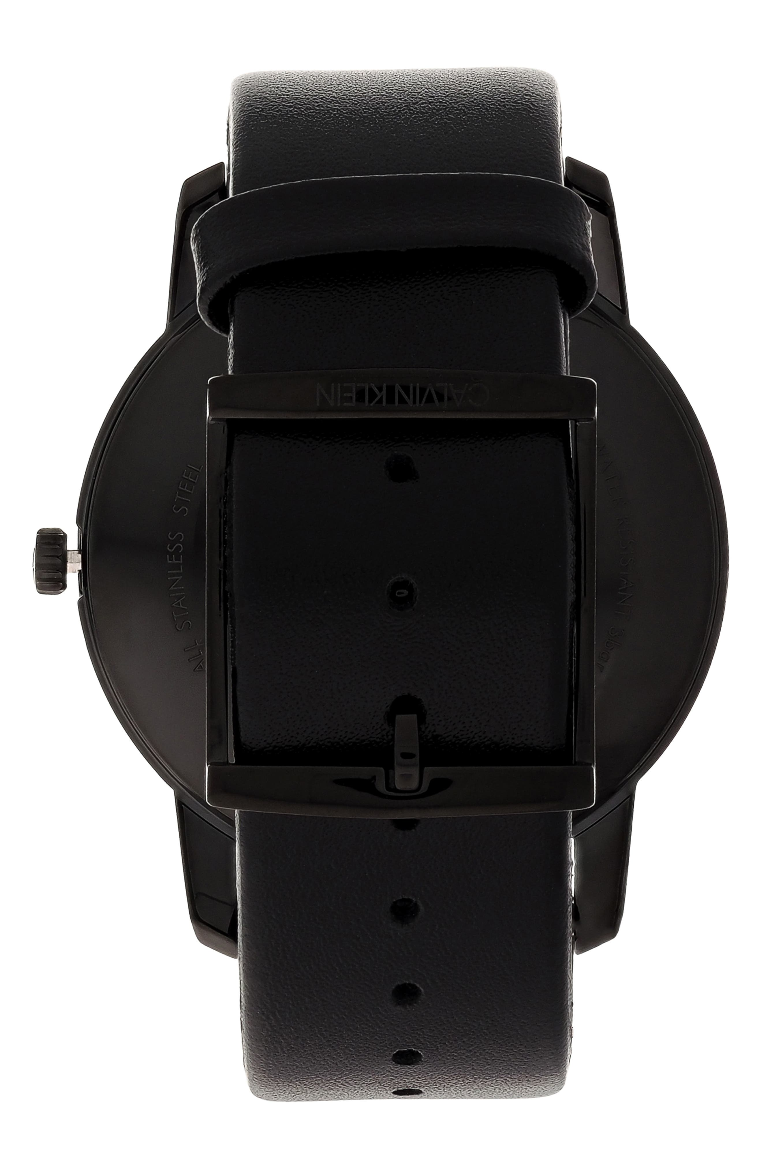 City Leather Strap Watch, 43mm,                             Alternate thumbnail 2, color,                             BLACK