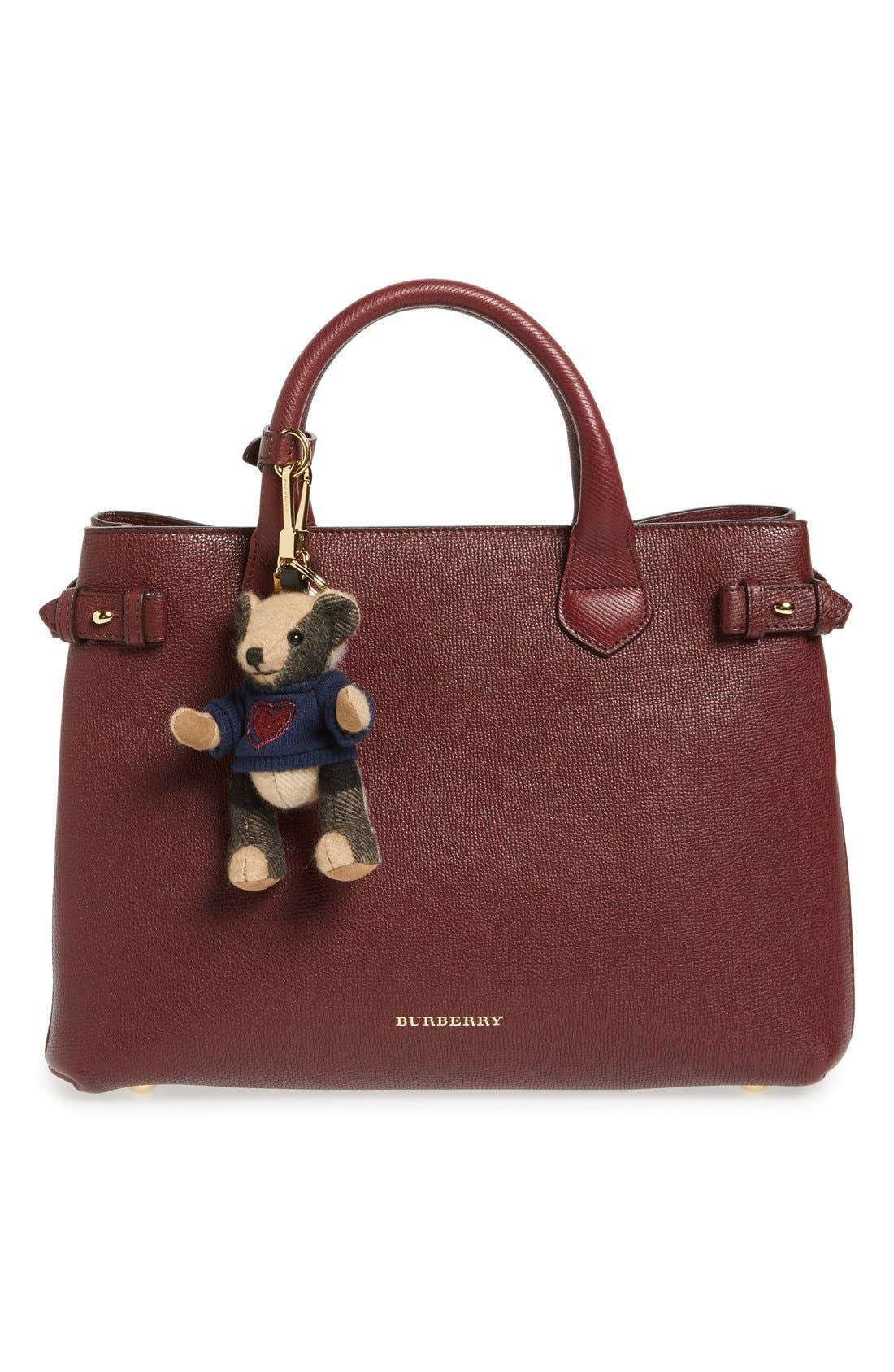 BURBERRY,                             'Thomas Bear Heart Sweater' Check Cashmere Bag Charm,                             Alternate thumbnail 2, color,                             231