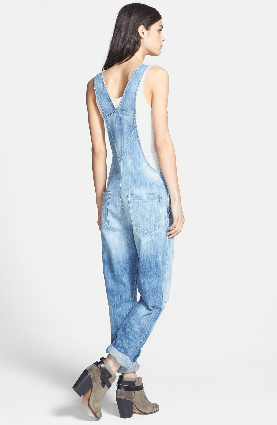 'Quincey' Distressed Denim Overalls,                             Alternate thumbnail 3, color,                             400